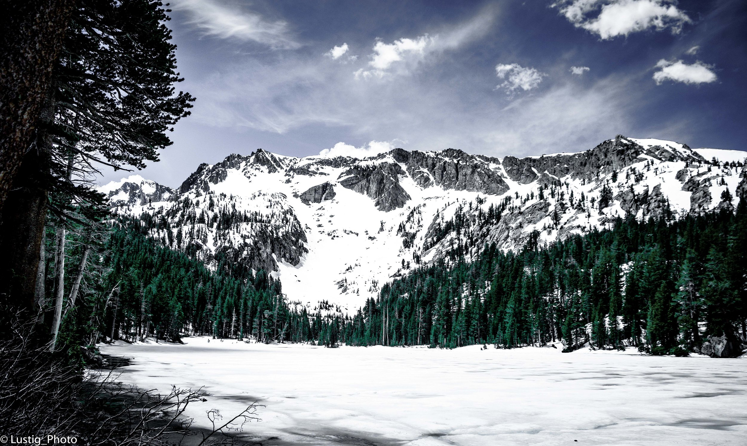 Hey, How is everybody? This photo is another landscape taken in Mammoth Lakes. It was taken last year during a hike last year at Lake George. I wanted to post it on my blog because I felt it adds an awesome winter vibe. It was actually April when I took this. We hiked through deep snow. I bring my camera not planning to take any striking images. It was more for snapshots of the family. But then I found this beautiful composition and took it. What do you think? If you would like to purchase the photo it is available digitally. Prints will be available soon