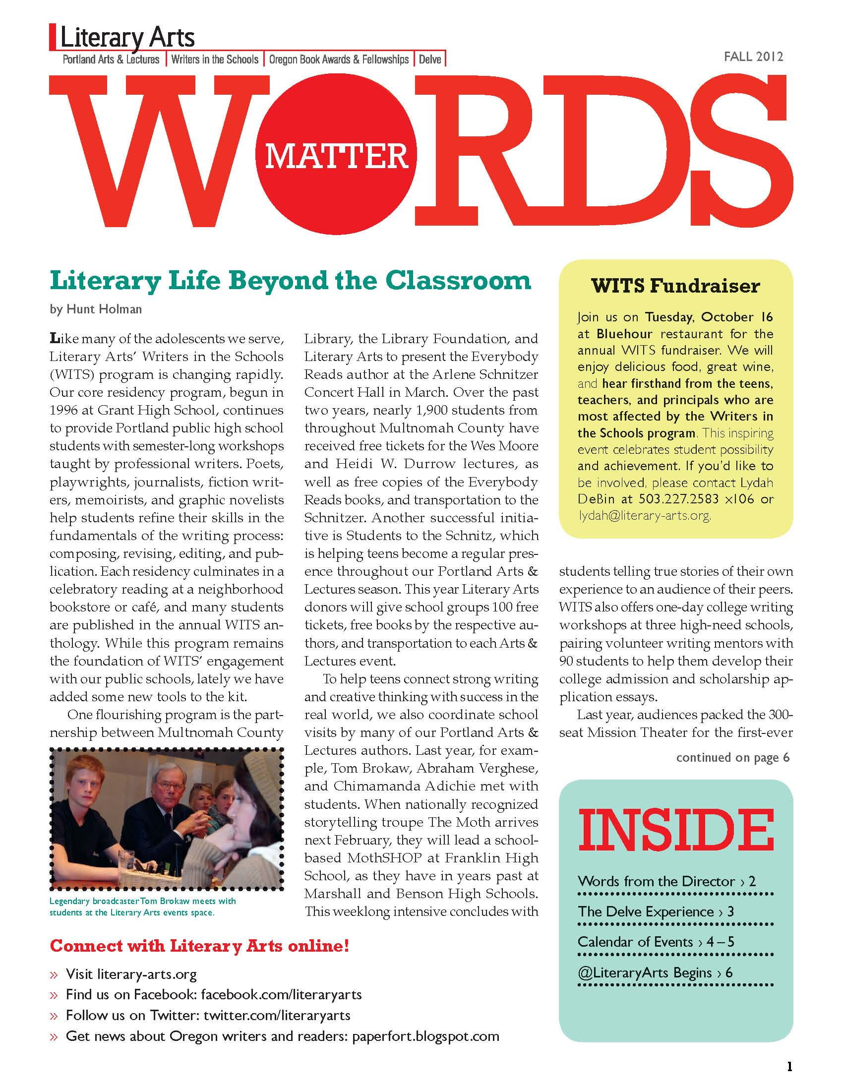 Samples of the Literary Arts 2012 newsletter