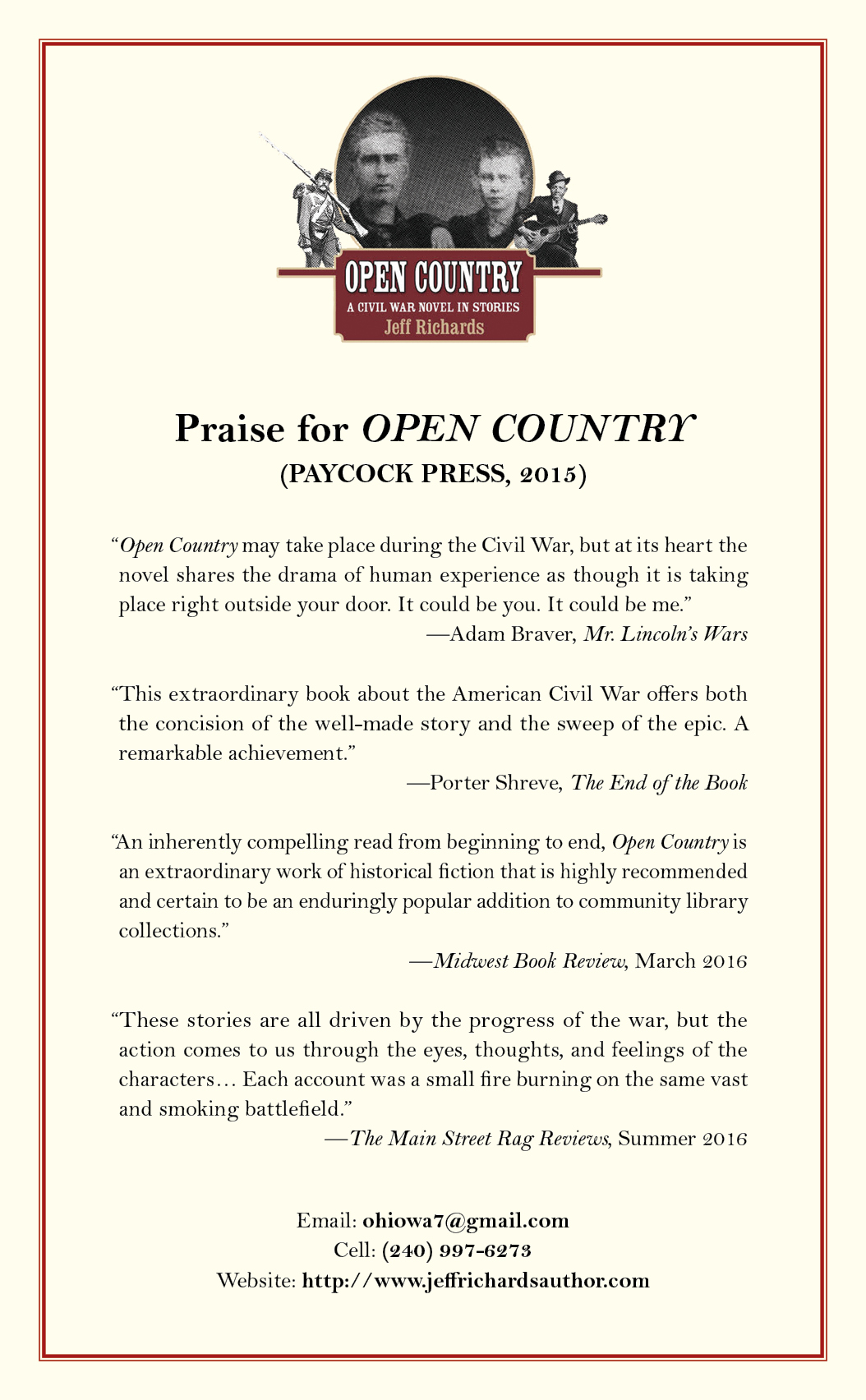 Postcard for Jeff Richard's OPEN COUNTRY
