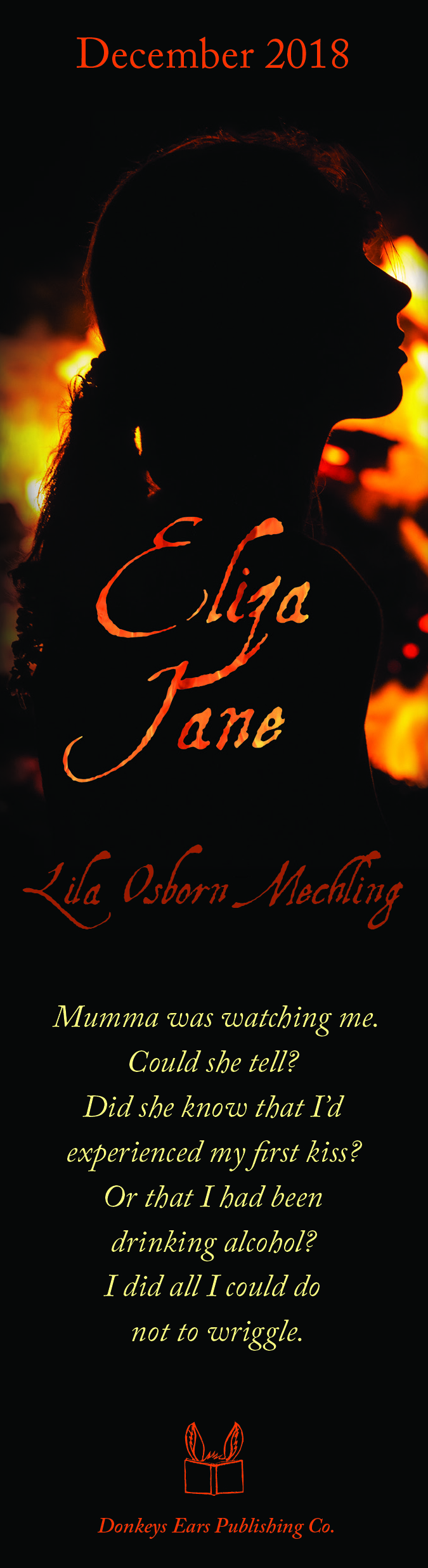 Bookmark for Eliza Jane by Lila Osborn Mechling (Donkey Ears Publishing, December 2018)