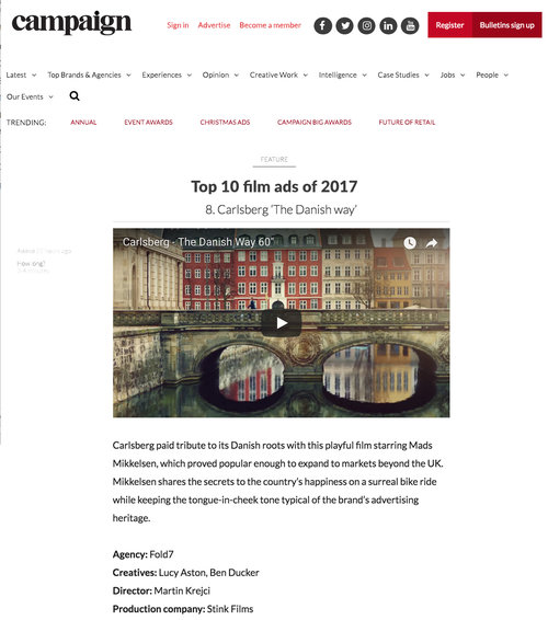 Carlsberg 'The Danish Way' places 8th in Campaign's Top 10 Film Ads of 2017 -