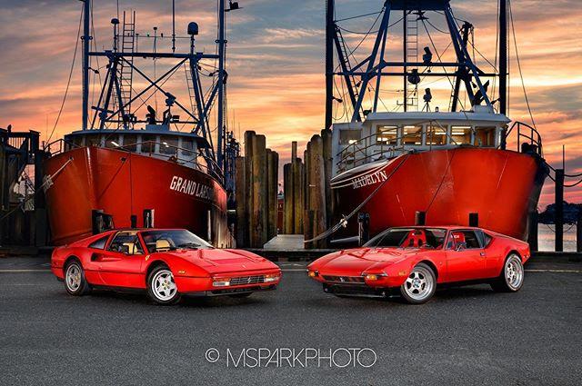 Ferrari's and fishing boats . . . #ferrari #supercar #supercars #cars #carporn #luxury #carsofinstagram #instacar #carswithoutlimits #carphotography #Ferrari #carlifestyle #classic #luxurylifestyle #barnegatlight #lbi #luxury_club #luxurycars #petrolhead #carspotting #ferraritestarossa #testarossa #ferrari308gts #carmadness #nikon #msparkphoto #80sinspired #nikonz6 #tamron2470vc
