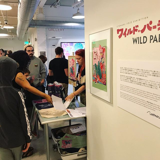 Thanks to everyone who came out for the 「WILD PARTY」opening reception tonight! It was a great time and @utomaru was very happy to meet everyone . The artwork from the exhibition will be available for purchase online soon; please look for our web store to launch at www.BaltimoreJapanArtFest.com early next week . Also, advance tickets for tomorrow's event (A Conversation with Utomaru & @alexfineillos - MICA Lazarus Center) are still available at bjaf2019.eventbrite.com 🌐 MICA students can purchase tickets at the door for $5 as well! . . . #baltimorejapanartfestival #bjaf2019 @micaillustration @marylandinstitutecollegeofart #utomaru #art #illustration #wildparty #japan #japaneseart