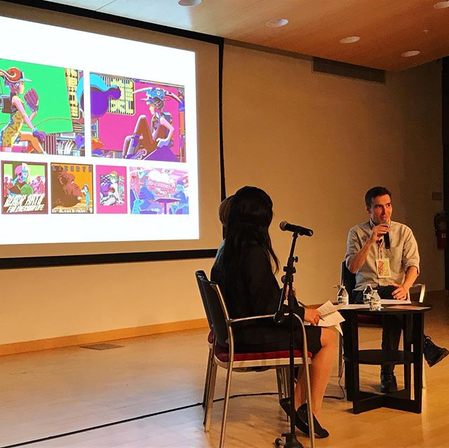 "Last night's ""Conversation with Utomaru"" at the MICA Lazarus Center was an amazing experience. @utomaru and @alexfineillos discussed a wide variety of topics that affect working illustrators and have an insight to the creative process for those not familiar with it already 👩🏻‍🎨🗣👨🏻‍🎨 . Special thanks to our interpreter Shiori Okazaki, and everyone who attended 🙇🏻‍♂️ . The event was recorded and should be available online soon: check www.BaltimoreJapanArtFest.com for updates . . . @marylandinstitutecollegeofart @micaillustration #utomaru #alexfine #mica #illustration #conversation #lecture #q&a #art #illustrator #japan #america #baltimore #bjaf2019 #baltimorejapanartfestival"