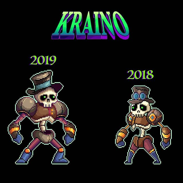 Until I compare older work, I never notice if I'm getting better. Happy how this turned out #Kraino ☠️ • • •  #retro #retrogames #unity2d #unitygames #animation #videogame #16bit  #software #indiegame  #pcgaming #pcgamer #indiegamedev  #gamedev #gamers #steam #instagamer #hibit #beautifulgame #art #digitalart #illustration #graphicdesign #starvingartist #kickstarter #crowdfunding #nintendoswitch #xboxone #playstation4