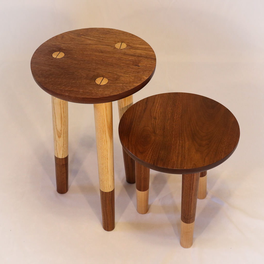 Plant Stands - These plant stands were made from leftover scraps - walnut, ash and maple. I was in love with the two tone aspect of the legs and wanted to feature that on an easily reproducible design. This project was just for fun.