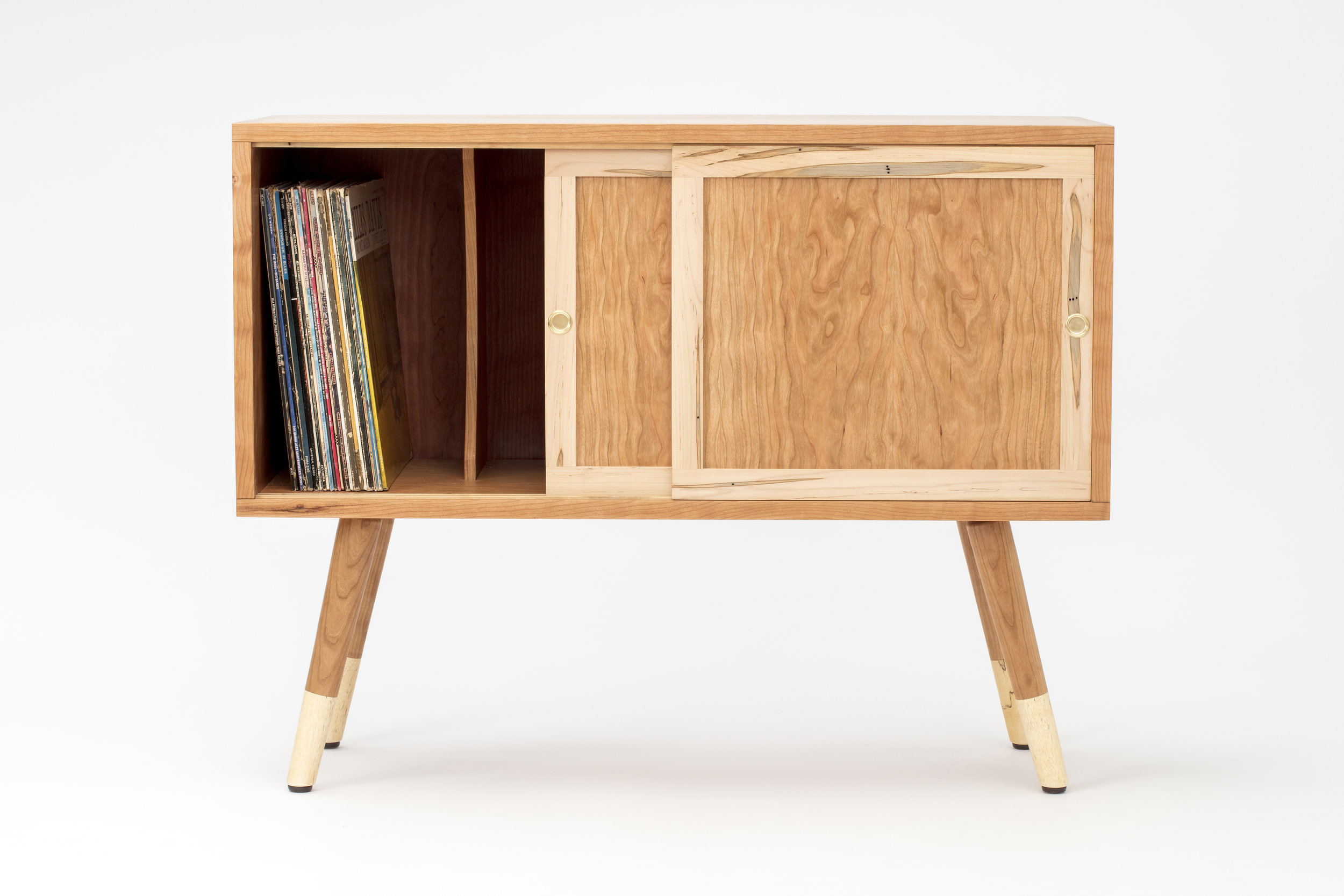 The WilliamCabinet - My favorite project from 2018! I reproduced two record cabinets from a design I had made in 2017. Box joint case construction, sliding frame-and-panel doors, dividers, two tone legs attached to the case with through wedged tenons. Both went off to live in California.