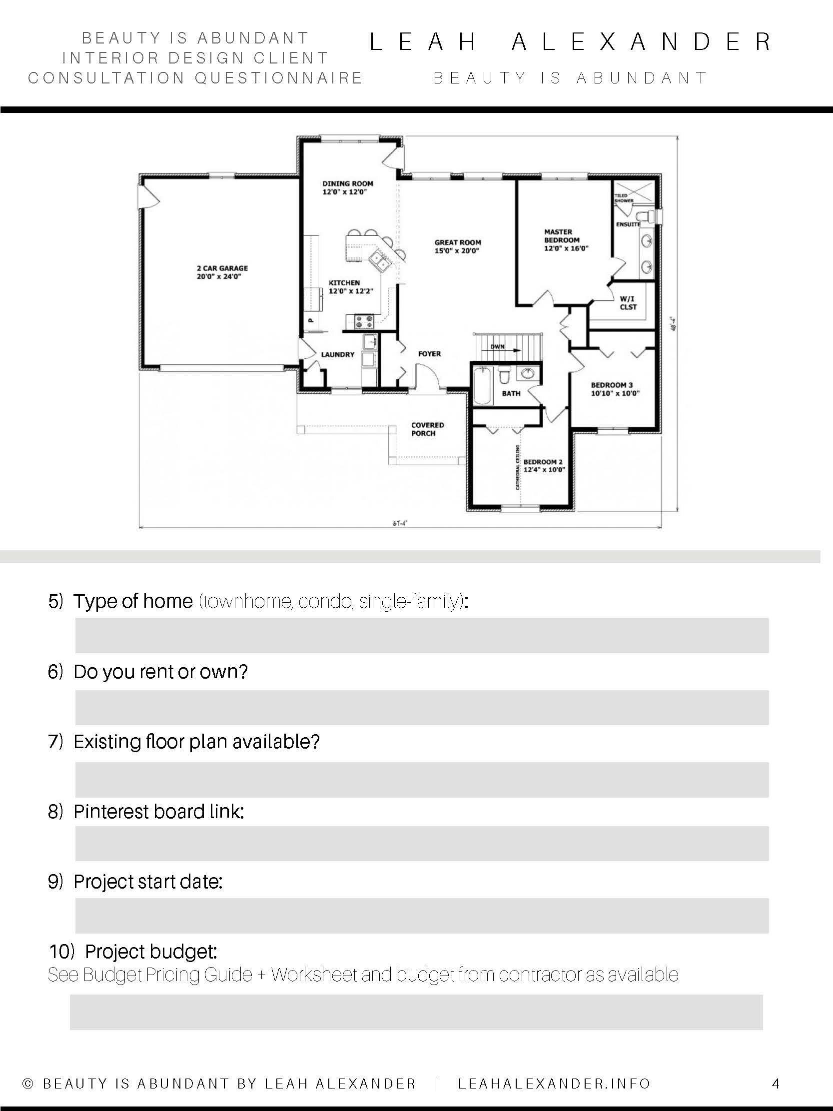 interior design kitchen questionnaire – ksa g.com