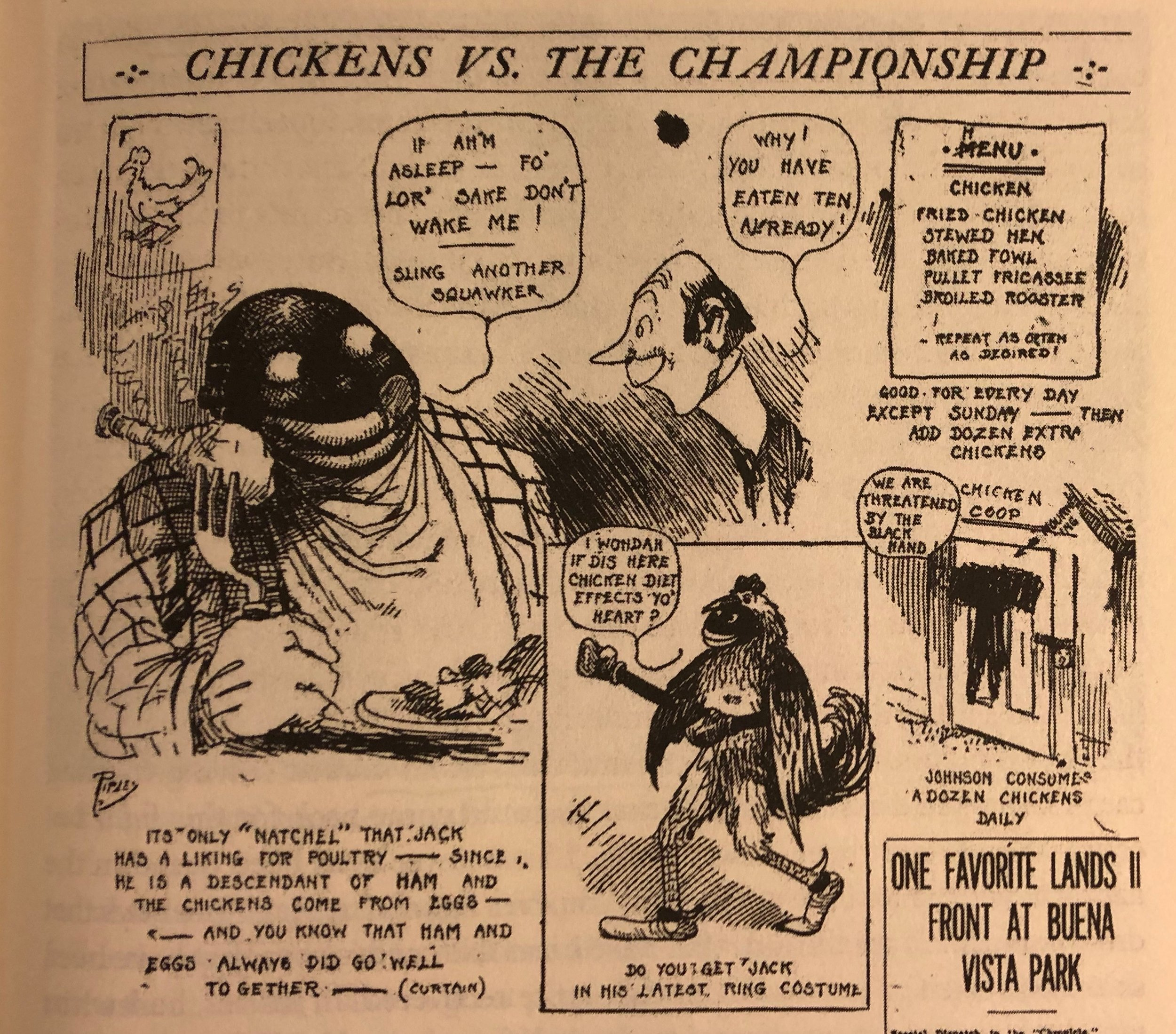 Jack Johnson portrayed as a chicken-loving Sambo in a 1910 issue of The San Francisco Chronicle. -