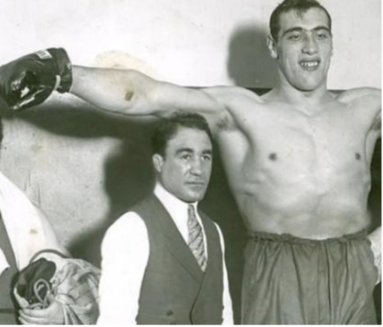 """Owney Madden and his ace in the hole, Primo Carnera, """"ll Gigante Buono."""" - (""""The Gentle Giant,"""" as the Italians referred to him.)"""