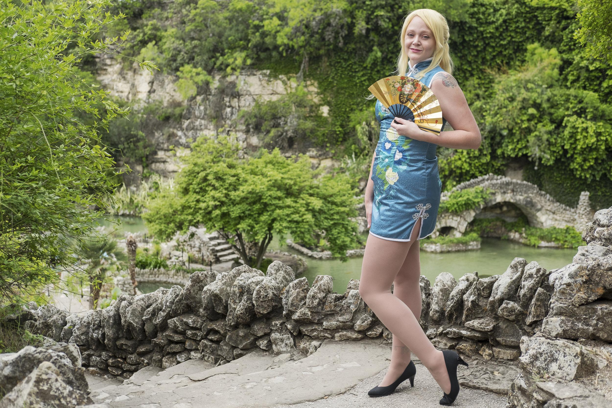 Allybelle Cosplay in Eli Ayase cosplay at the San Antonio Japanese Tea Gardens