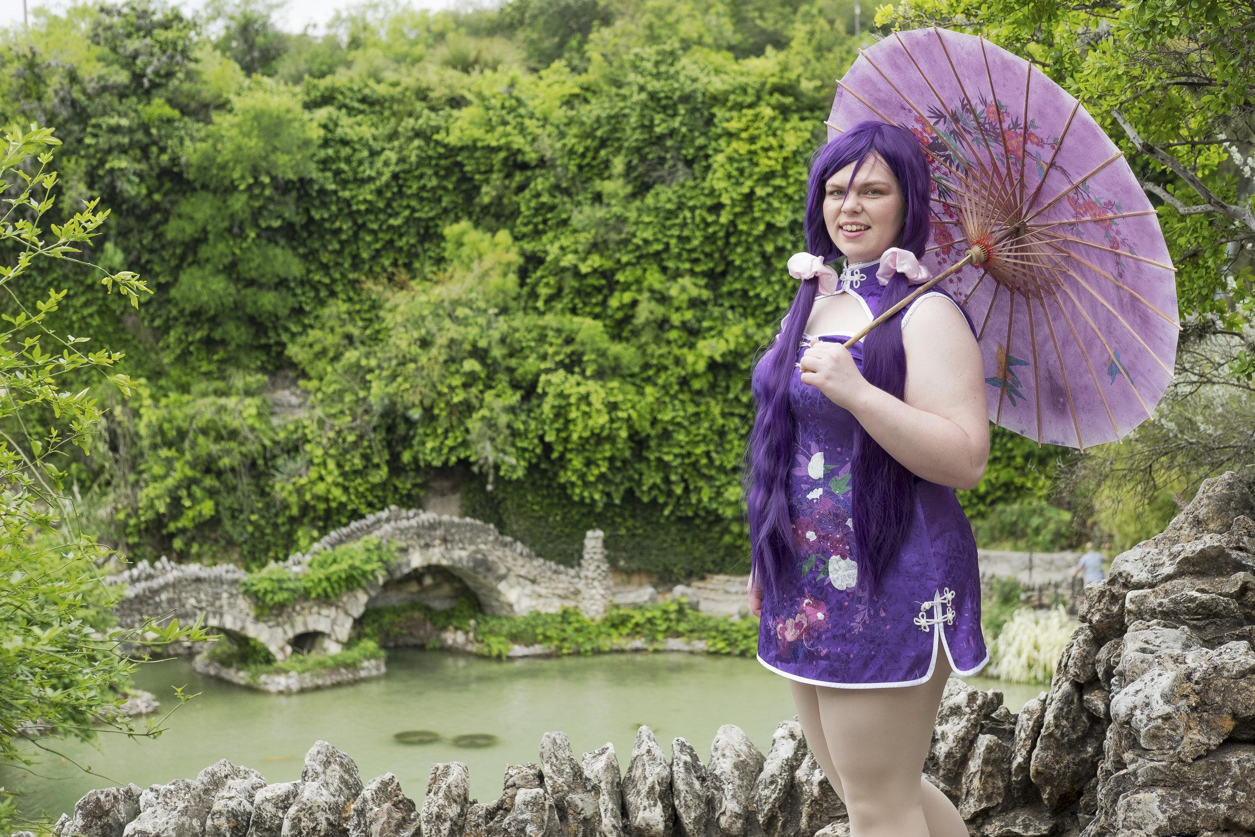 Tacocat Cosplay in Nozomi Tojo cosplay at the San Antonio Japanese Tea Gardens