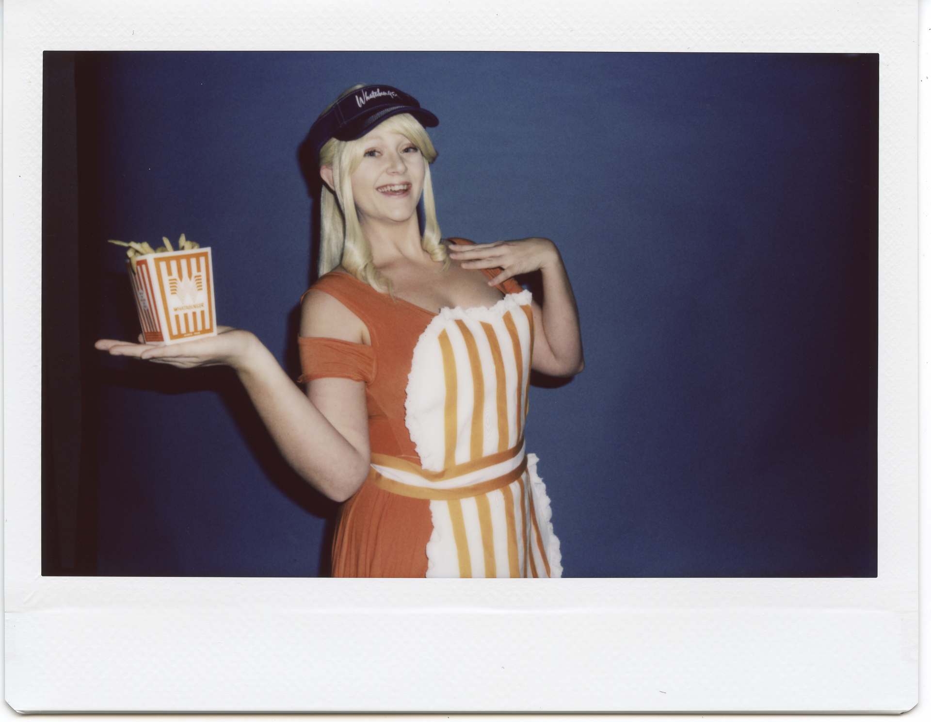 Allybelle Cosplay in Whatagirl cosplay with food from Whataburger