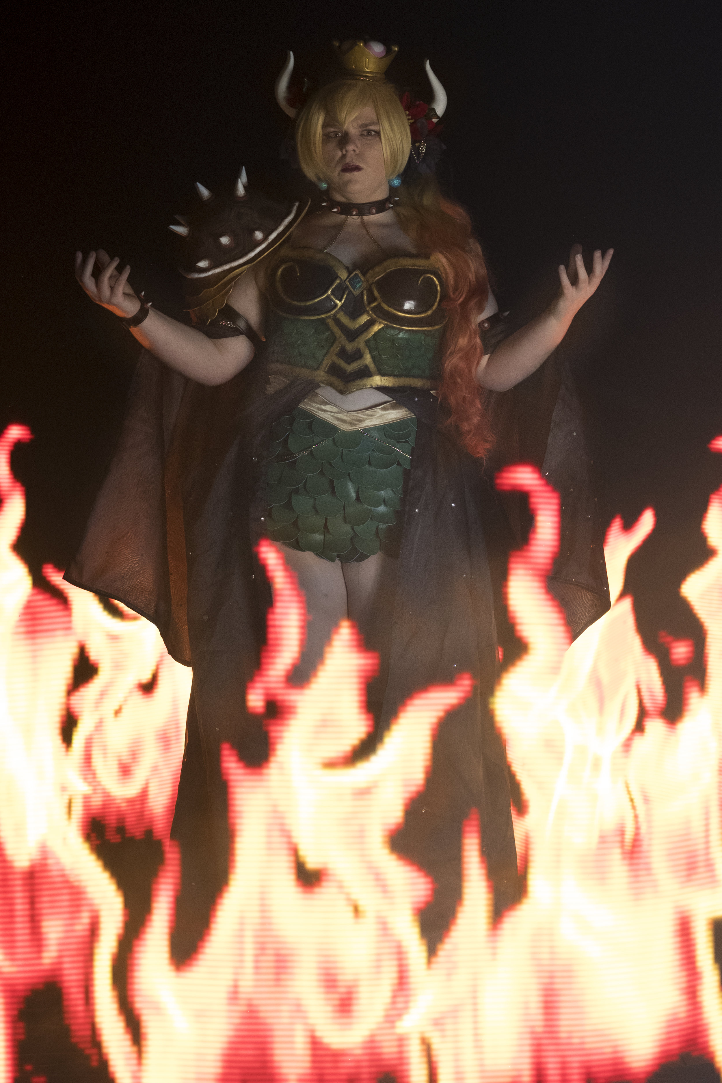 Tacocat Cosplay cosplaying as Hannah Alexander's Bowsette surrounded by light painted flames