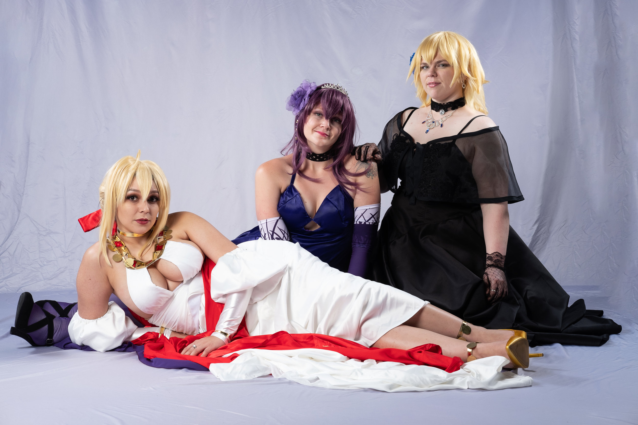 Allybelle Cosplay, Tacocat Cosplay, and Mermaid Child cosplaying characters from Fate/Grand Order