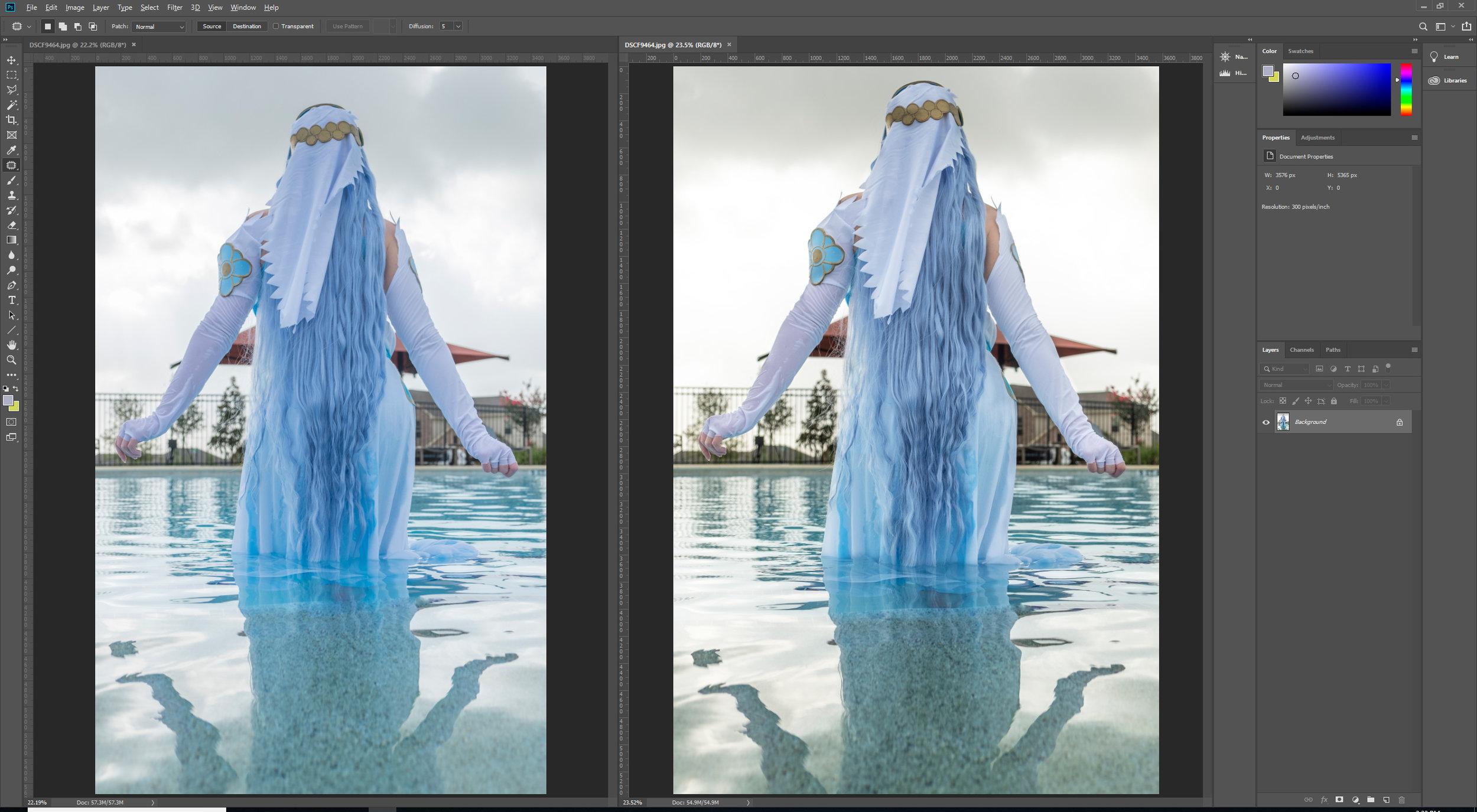Left: original edit, right: re-edited version