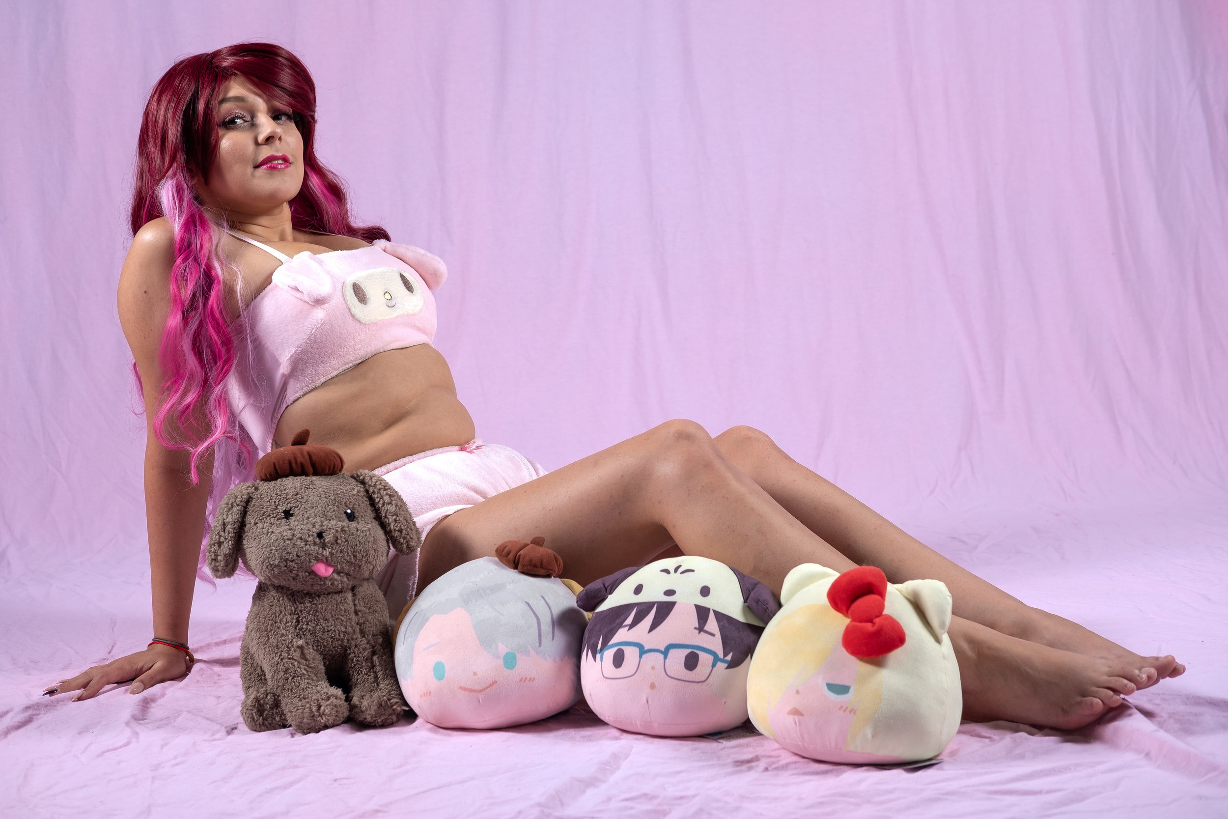 Mermaid Child posing with the My Melody lingerie set from Sanrio