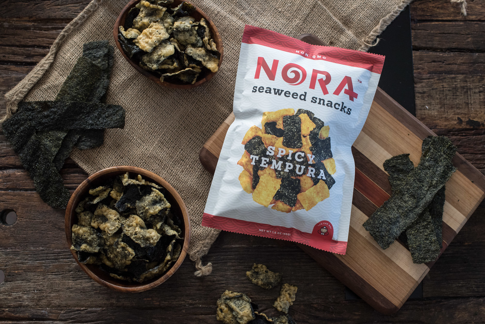 "Spicy Tempura - The crisp dose of heat in Nora Spicy Tempura Seaweed will send you sailing right back to the ""Land of Smiles."""