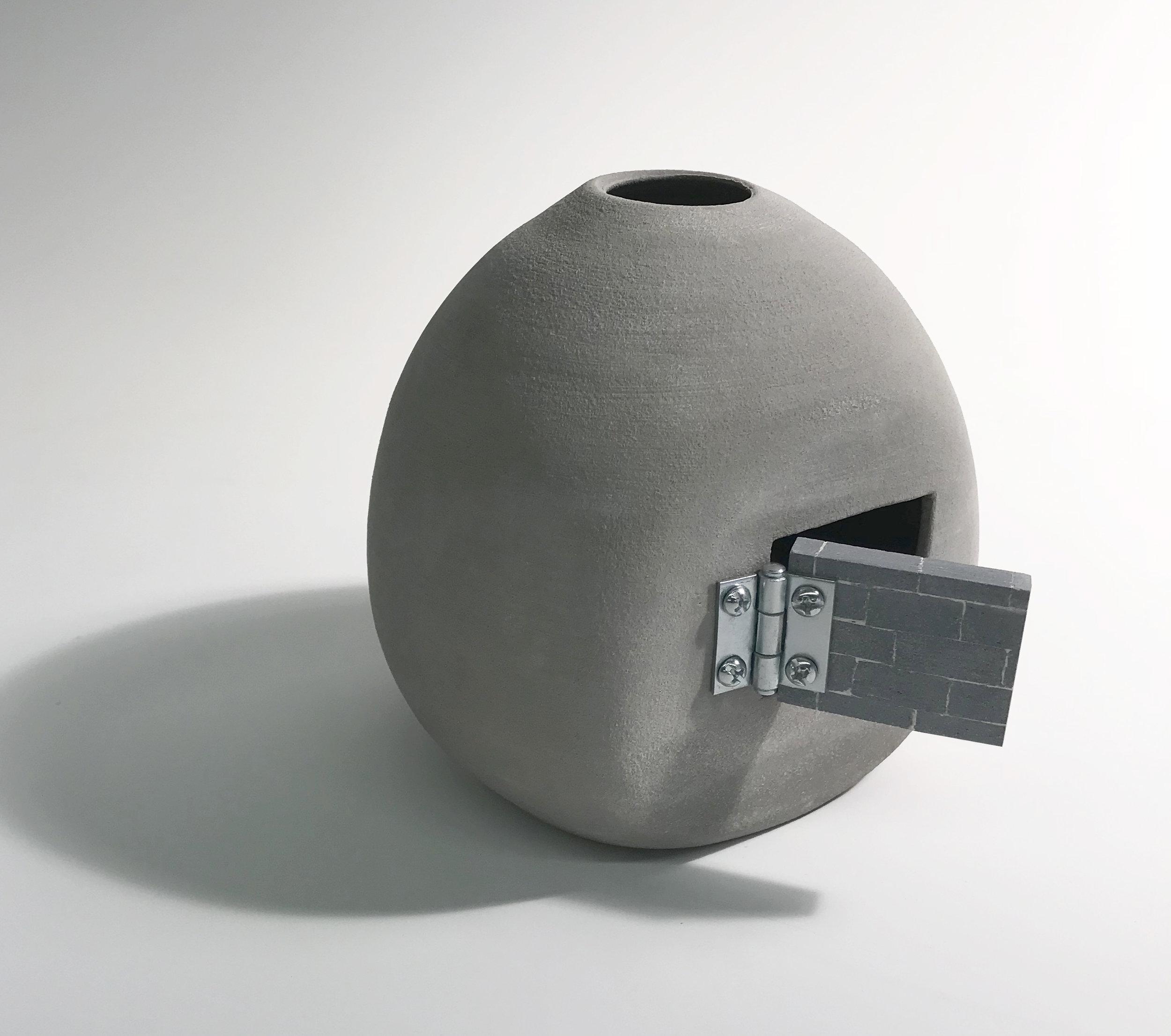 "Oculus , Gray Stoneware, 6"" x 8"" x 10"""