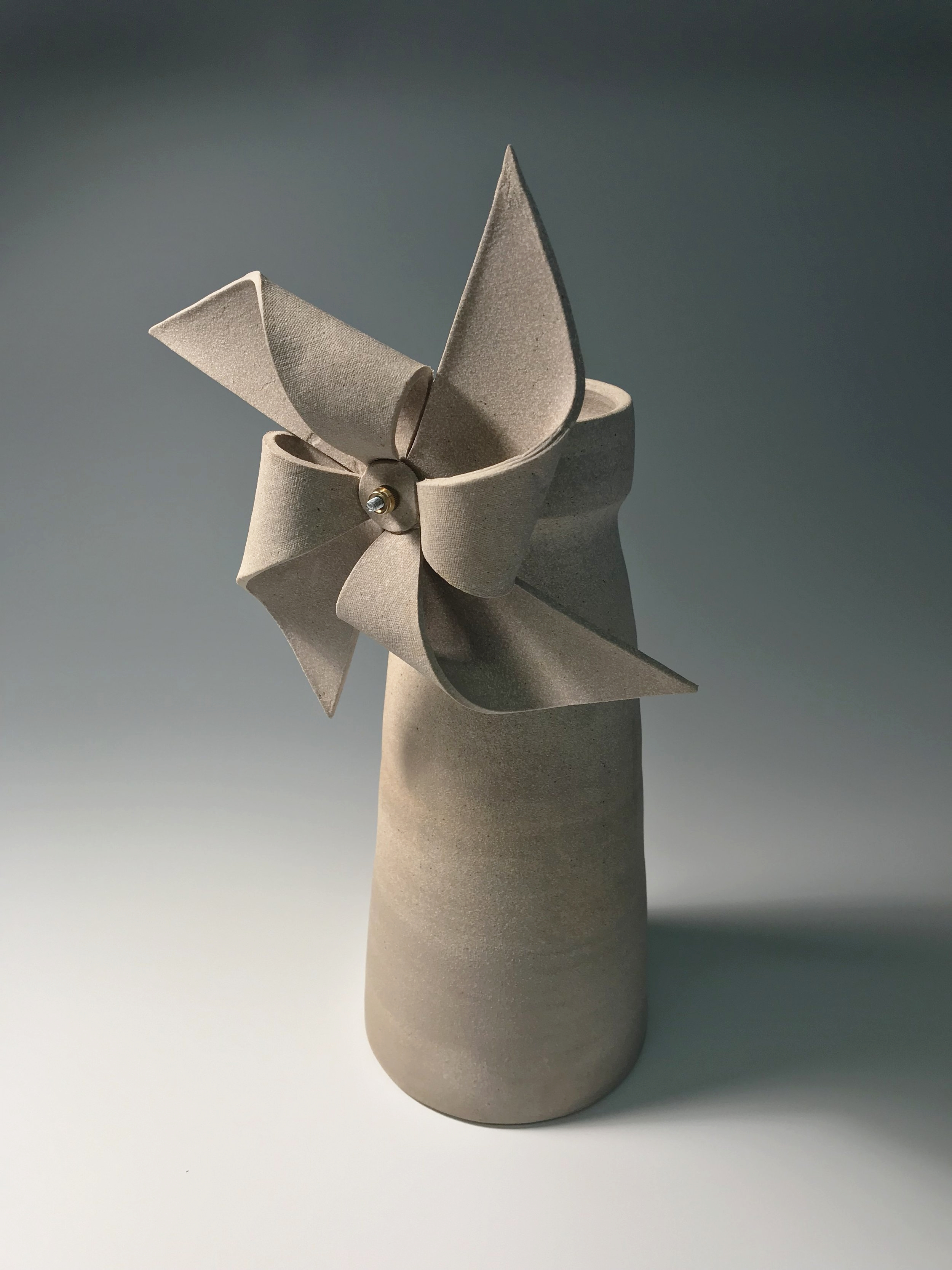 """Used To Go Where The Wind Goes , Stoneware, Hardware, 9"""" x 9"""" x 20"""""""