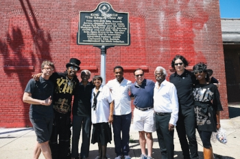 Cincinnati Mayor, King Records artists, Jack White, and King Records Non-Profit Steering Committee members. L-R: Elliott Ruther, Bootsy Collins, Otis Williams, Evanston's Ms. Anzora Adkins, Kent Butts, John Cranley, Philip Paul, Jack White, Patti Collins; photo credit: David James Swanson