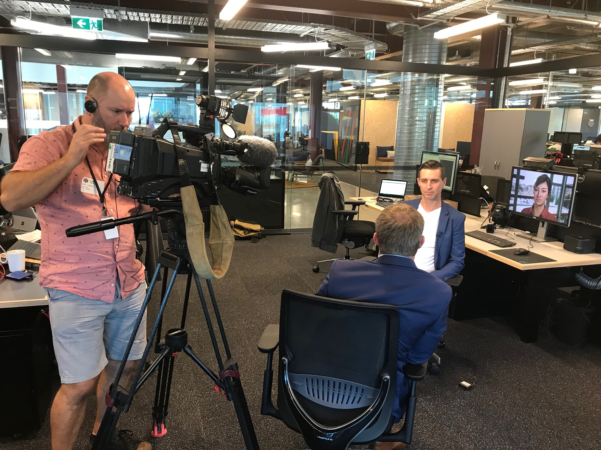 CEO Danny Tomsett being interviewed by Newshub reporter