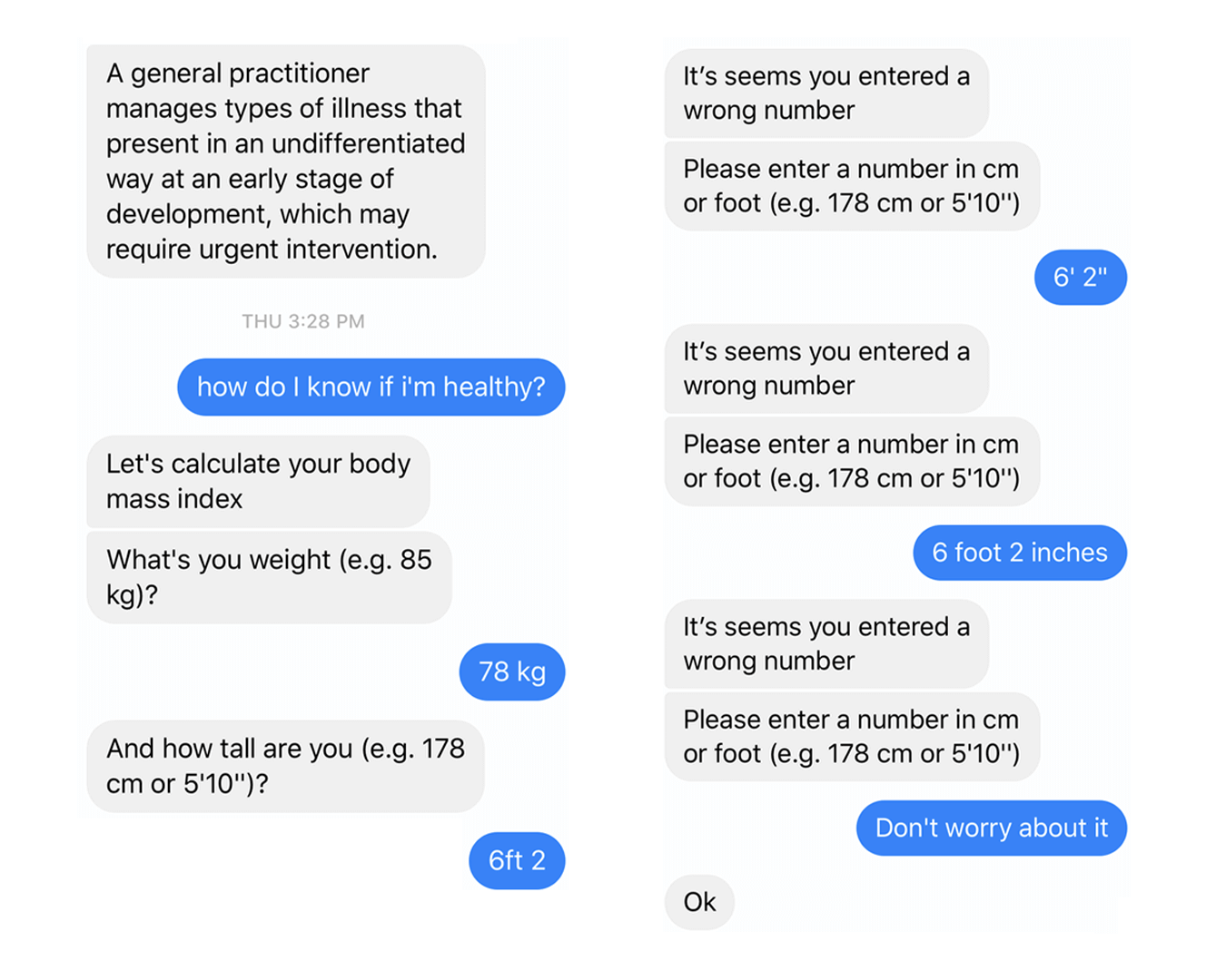 A conversation with a healthcare chatbot in 2019…