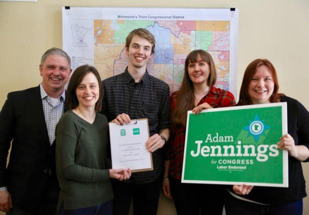 "ADAM JENNINGS FOR CONGRESS - ""I'm proud to work on the most progressive campaign in Minnesota's 3rd. I think it's important to be a part of a movement to bring higher labor standards to campaigns nationwide,"" said Walker Reiss, Field Organizer for Adam Jennings, candidate for congress (MN-03)."