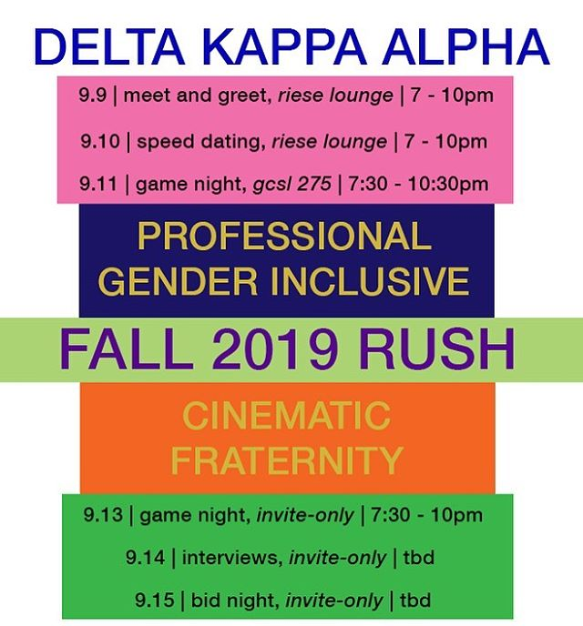 Come out and rush the NYU chapter of Delta Kappa Alpha, the national, professional, gender-inclusive, cinematic fraternity! A fun, supportive group of artists dedicated to preparing each other for the professional world, Delta Kappa Alpha is one of the best communities on campus!  To apply for rush, fill out the application on this site: link in bio!  To check out the dates and times of all the events, check out our facebook page: https://www.facebook.com/NYUDKA/