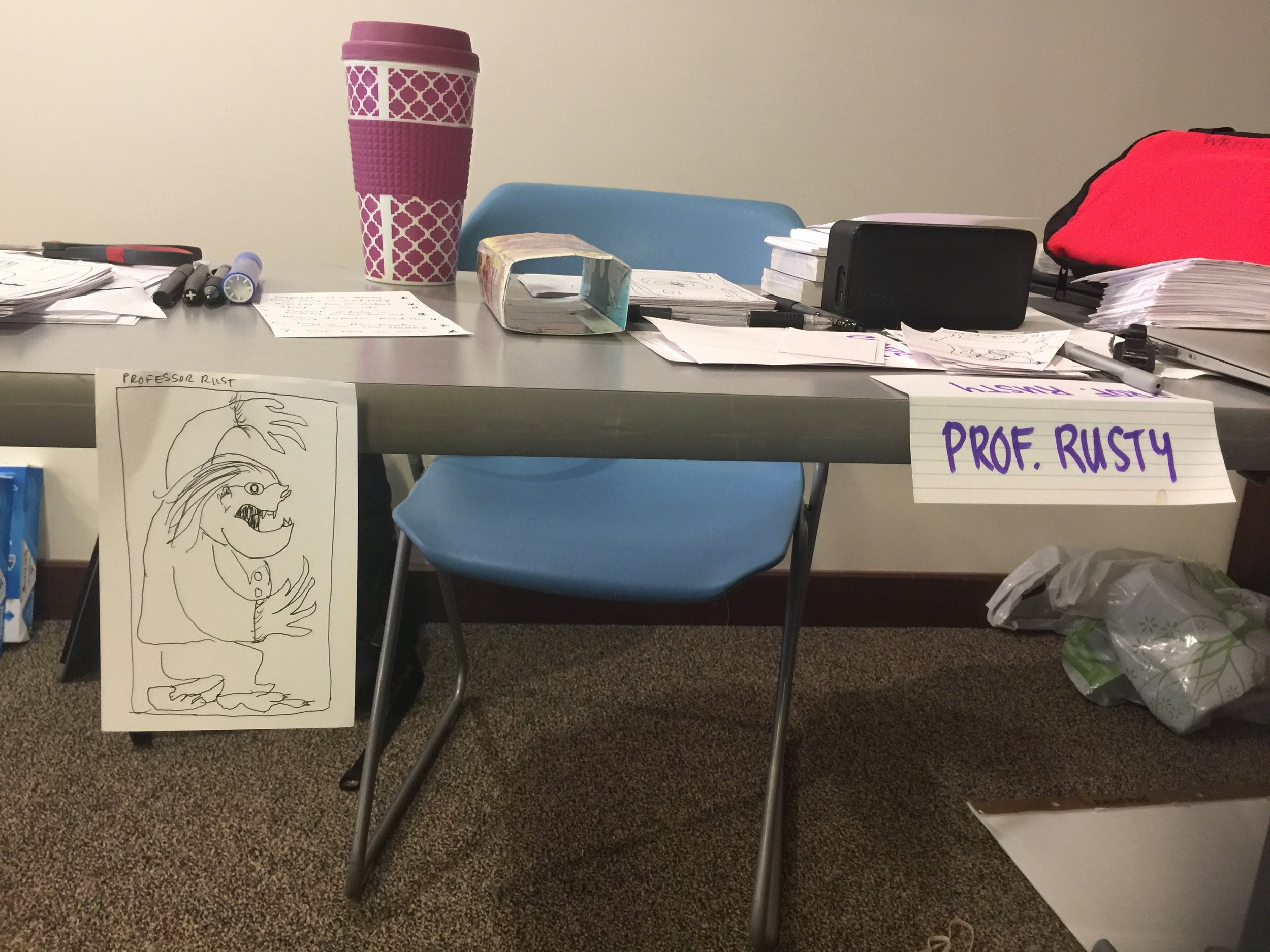 The desk of Clarion 2017 Week 1 co-instructor Dan Chaon, aka Professor Rusty