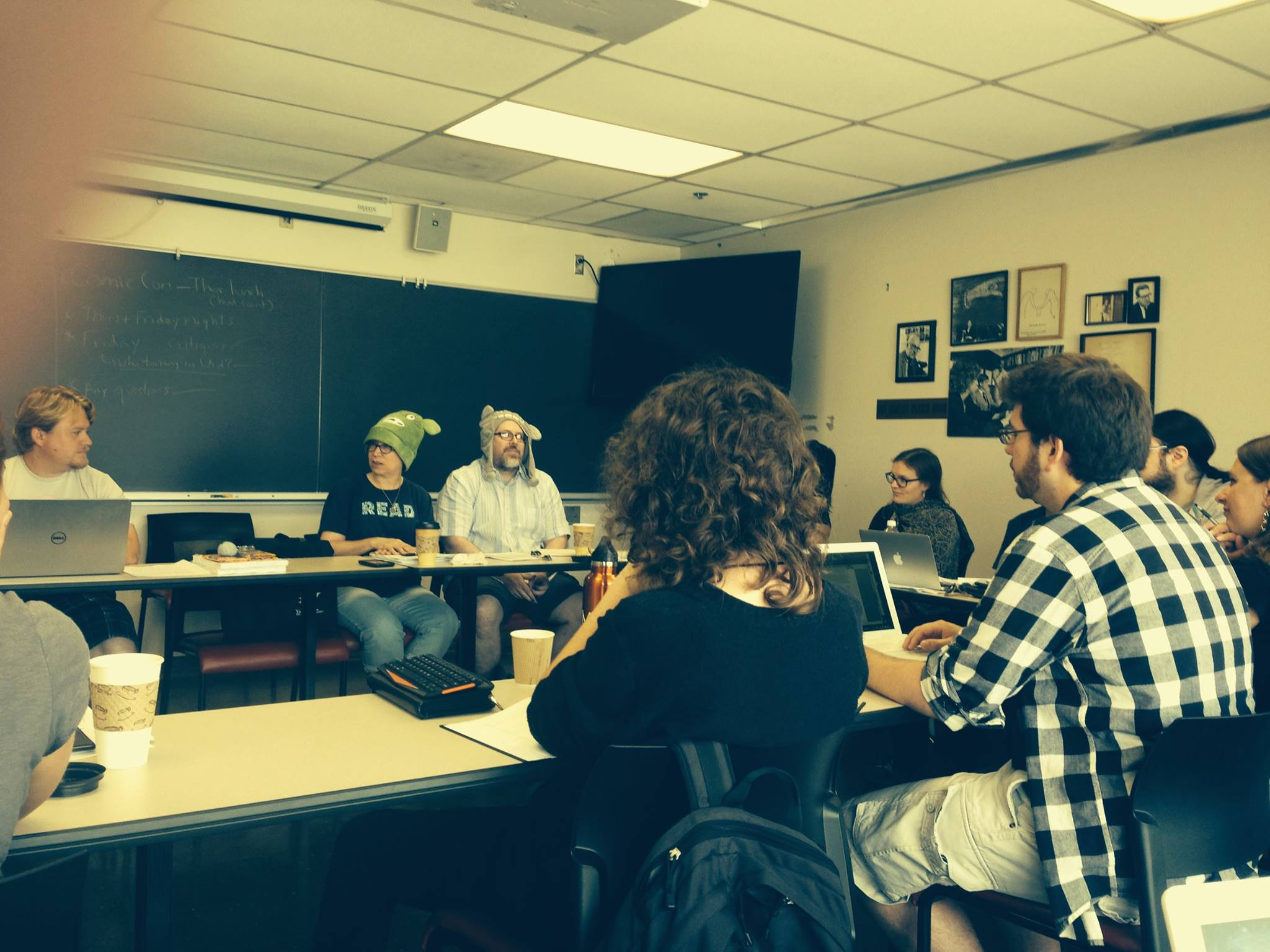 Jeff and Ann Vandermeer using creative methods in the Clarion 2014 classroom
