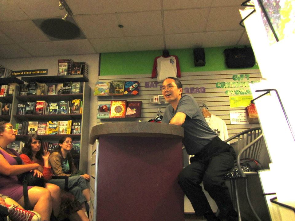 Ted Chiang reading at Mysterious Galaxy with Clarion 2012ers Carmen Machado, Sadie Bruce, and Eliza Blair