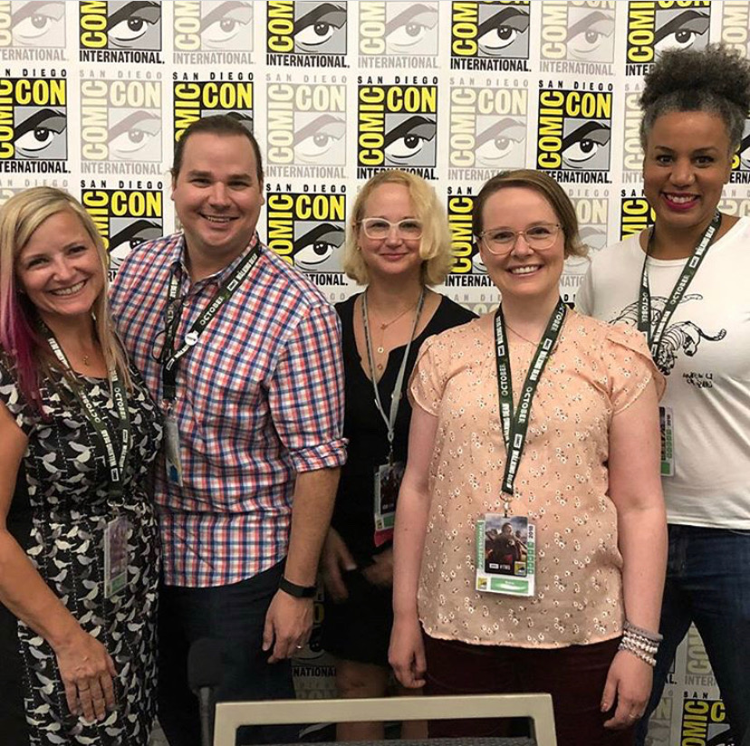 Rose Little-Brock, Matthew and Jennifer L. Holm, me, and Traci Todd at last year's SDCC!
