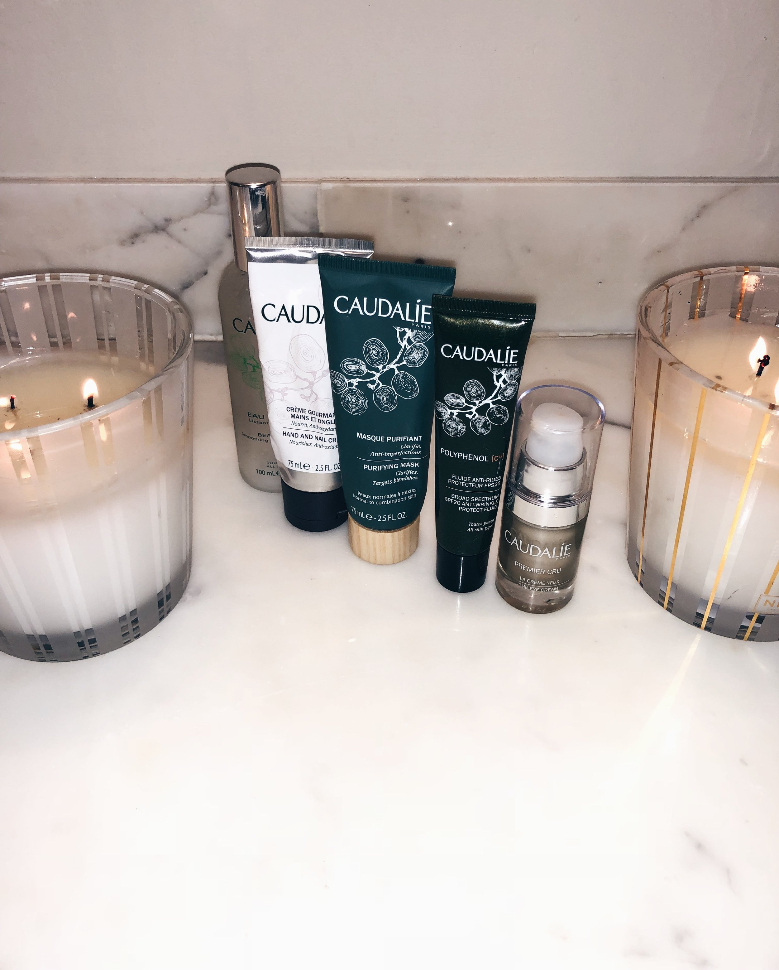 Products from Left to Right. Click Names to shop through link...  1.  CAUDALIE: Beauty Elixir 40oz ,  Beauty elixir 18oz ... I recommend the big 40 oz but the 18oz is good for travel or as a first time sample.   2.  CAUDALIE: Hand and Nail Cream    3.  CAUDALIE: Purifying Mask    4.  CAUDALIE: Polyphenol SFP 20 Moisturizer. .. discontinued unfortunately such a good product but the  Moisturizing Sorbet Cream  is just as Good.  5.  CAUDALIE: Premier Cru Eye Cream