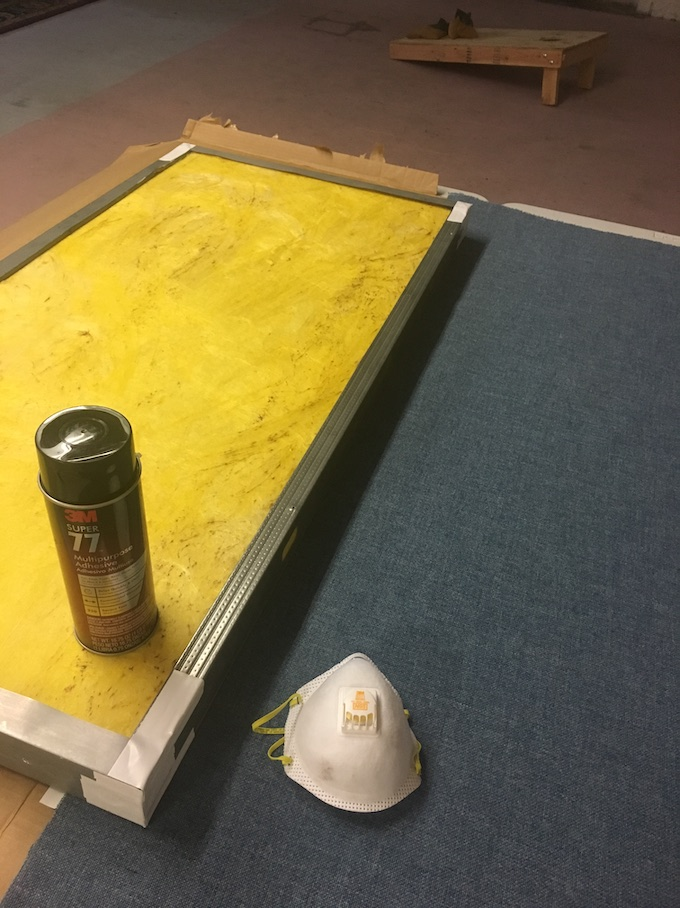 Prepping for stretching. Aligning the first edge is critical.