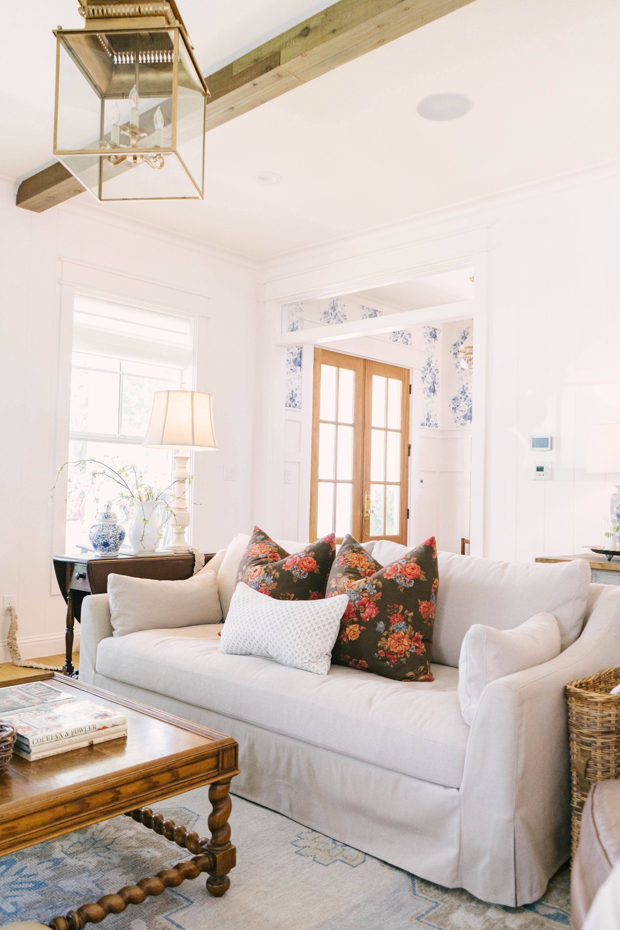 Classic Farmhouse Home Tour - Living Room - Wood Beams - Sherwin Williams Marshmallow