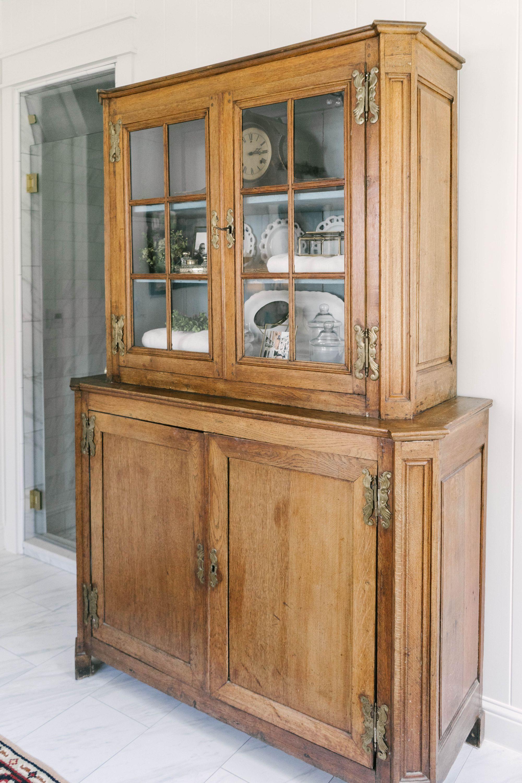 Classic Farmhouse Home Tour - Hutch in Bathroom
