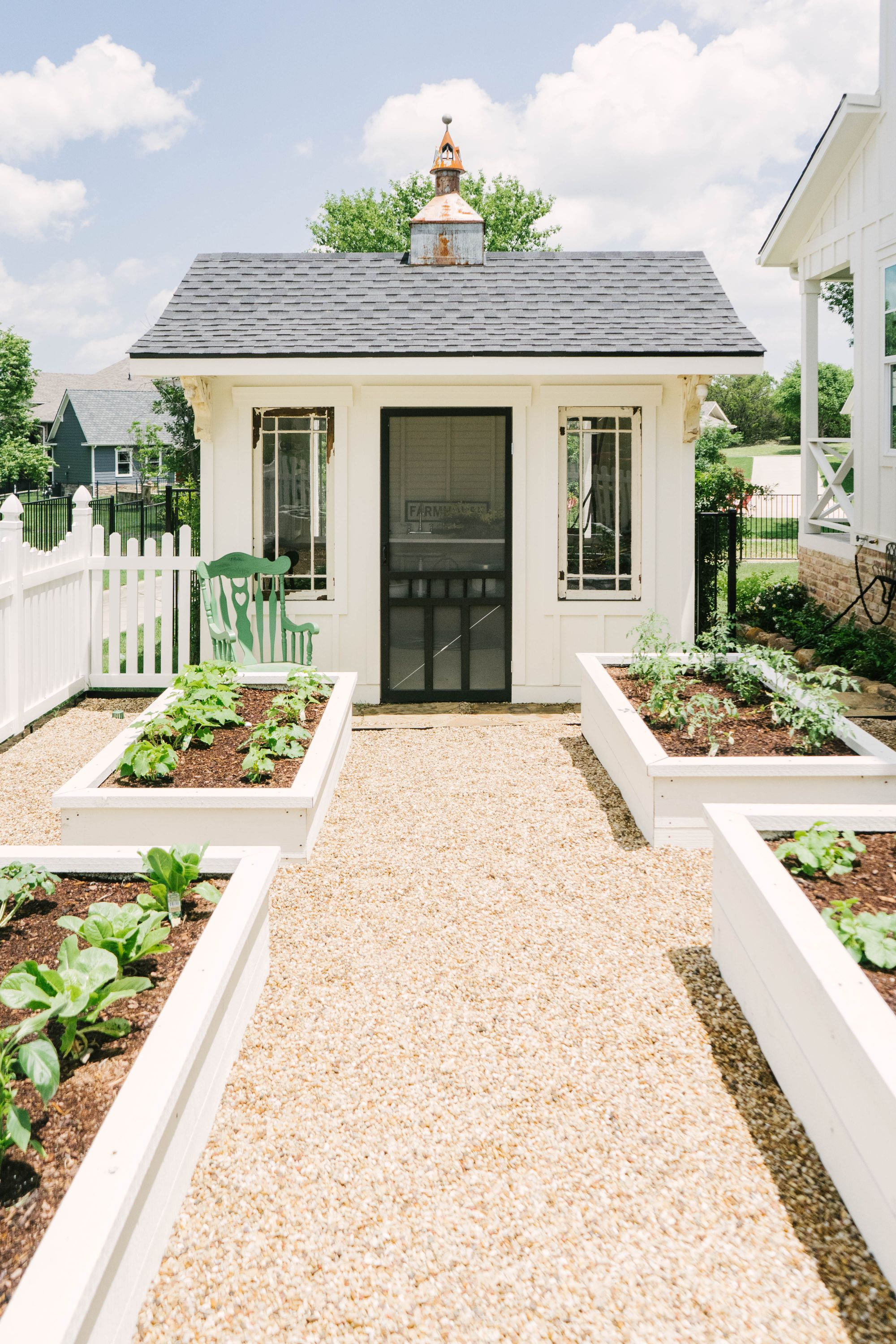 Classic Farmhouse Home Tour - White Potting Shed - White Raised Beds - Modern Garden