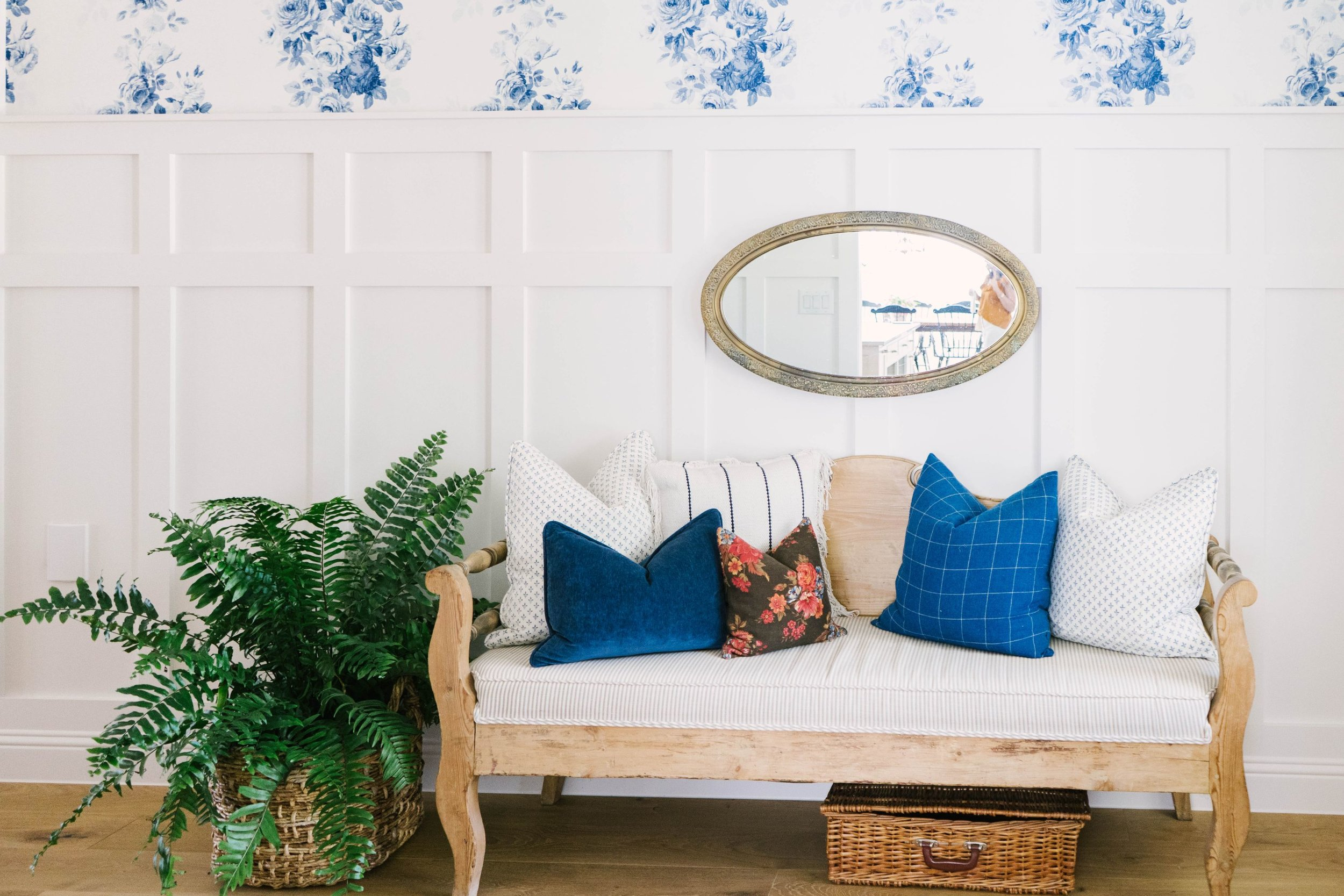 Classic Farmhouse Home Tour - Farmhouse Entryway - Blue Floral Wall Paper