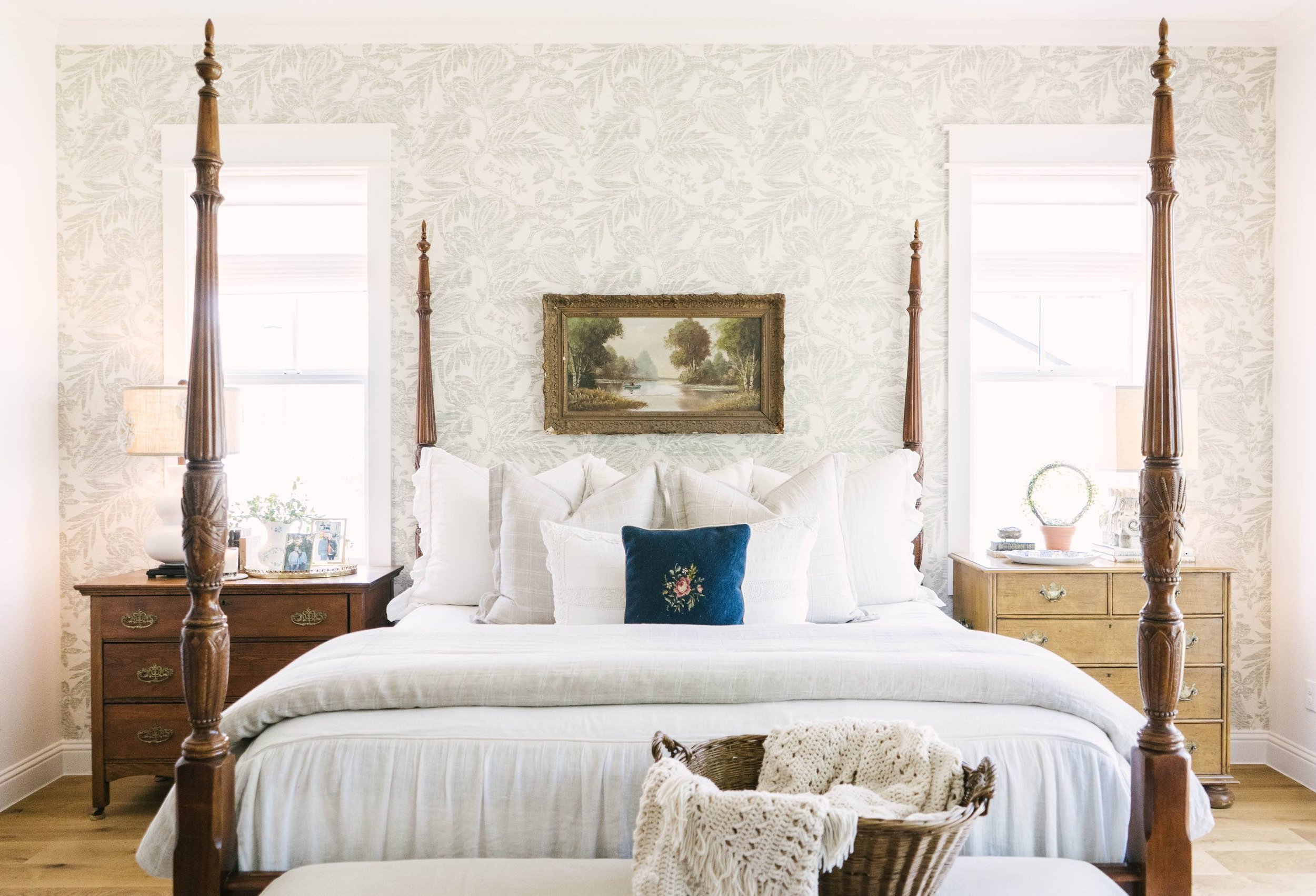 Classic Farmhouse Home Tour - Master Bedroom - Annie Selke Wallpaper