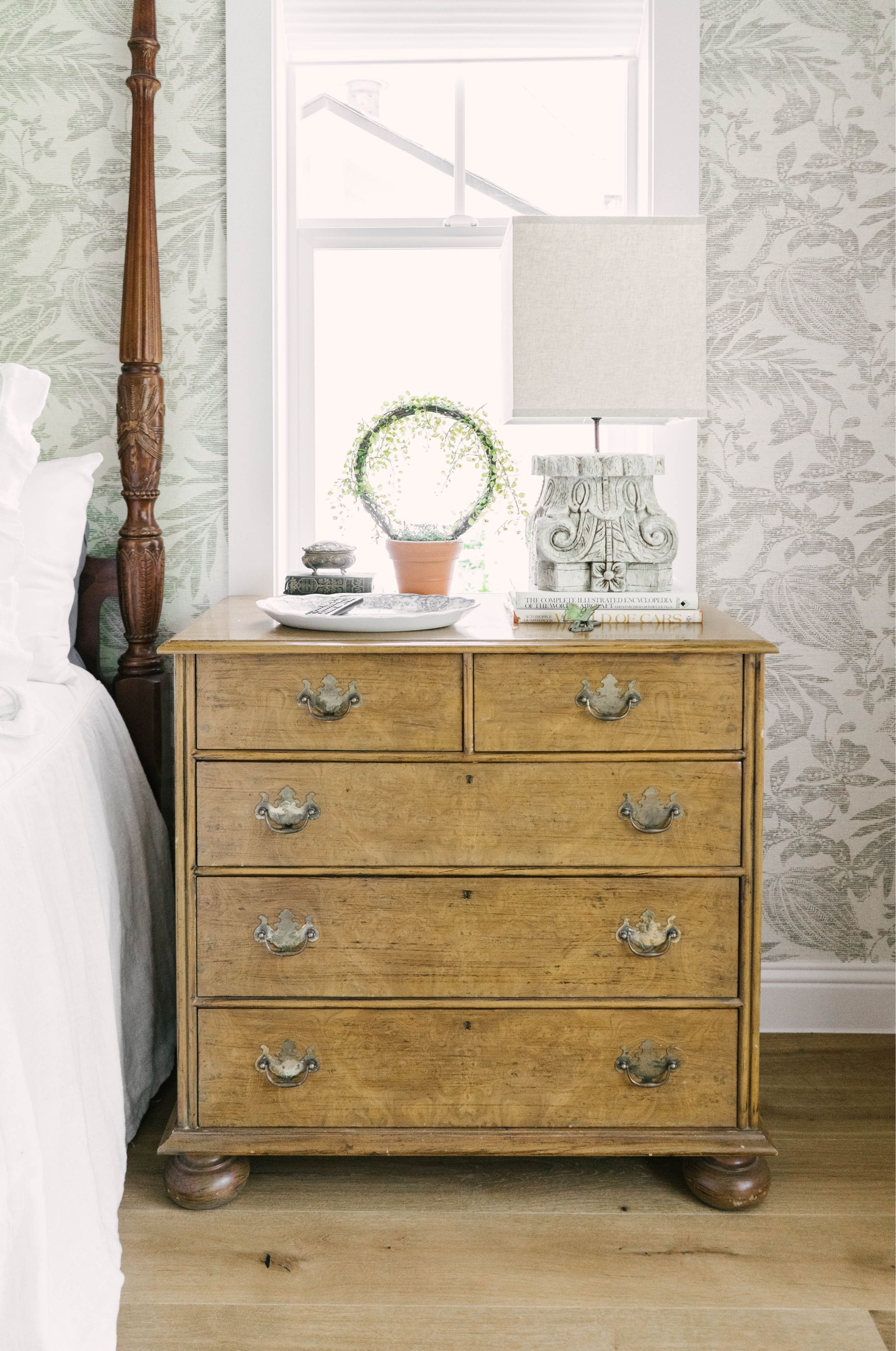 Classic Farmhouse Home Tour - Master Bedroom - Vintage Night Stand
