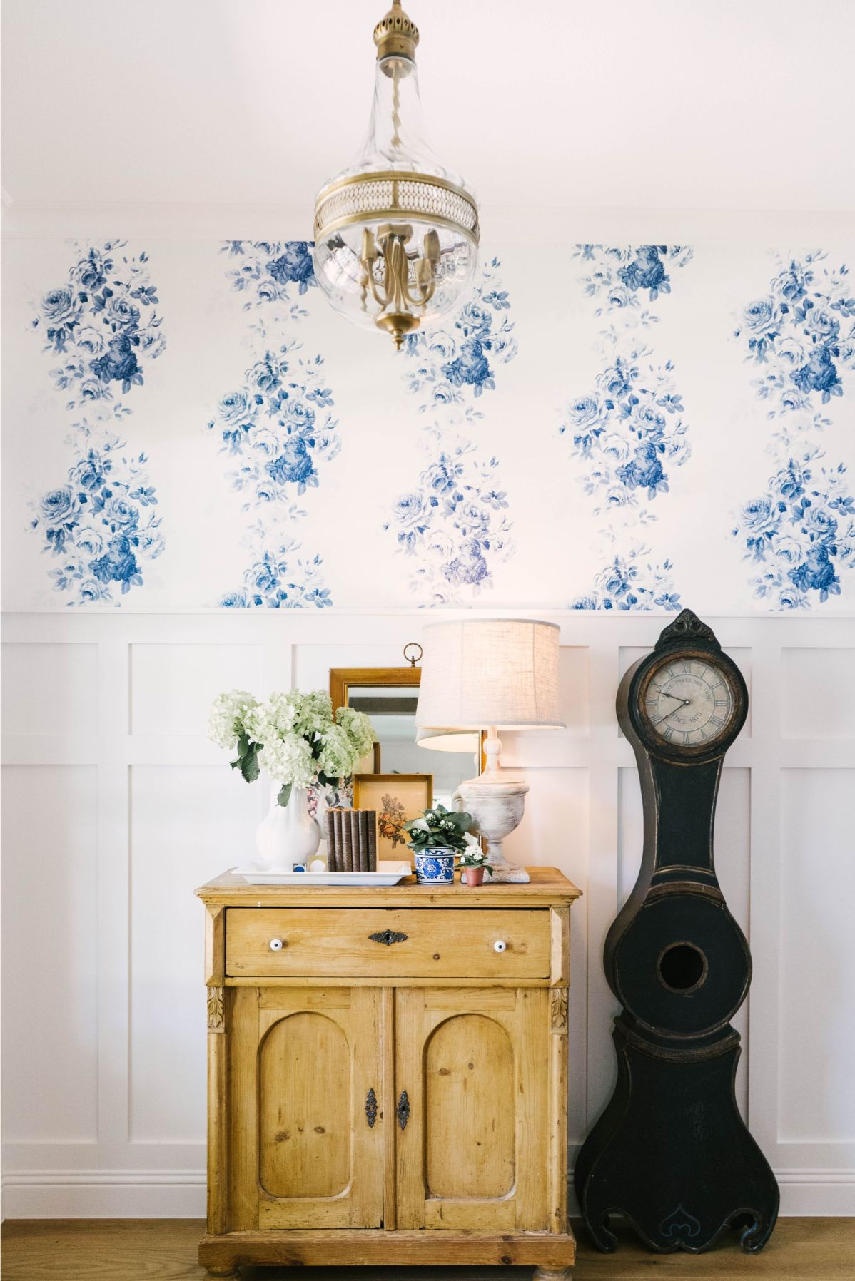 Farmhouse Entry Way - Blue Floral Wall Paper