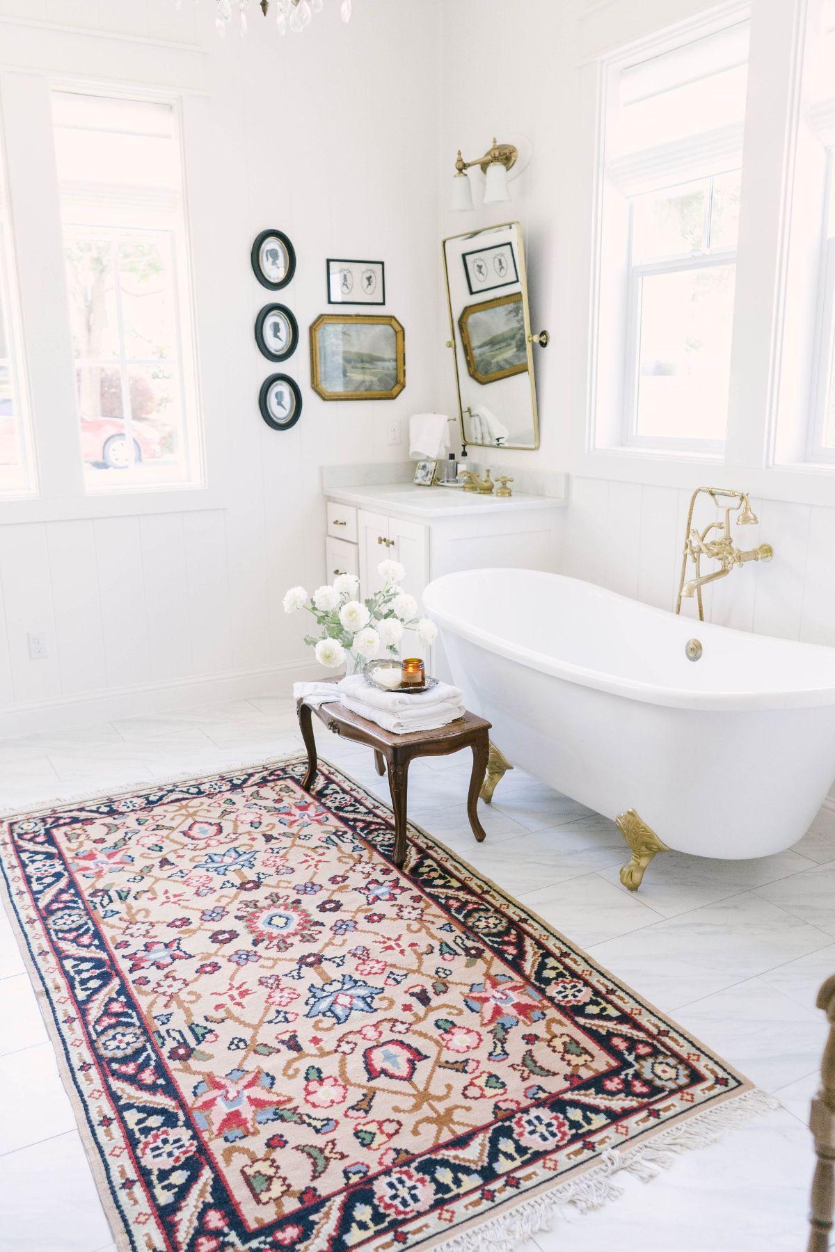 Farmhouse White and Gold Bathroom