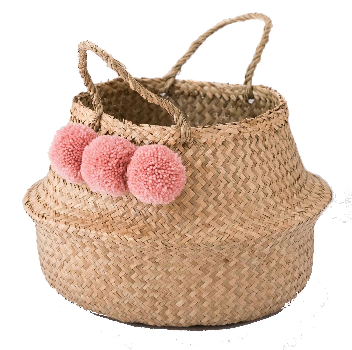 Basket with Pink Pom Poms.png