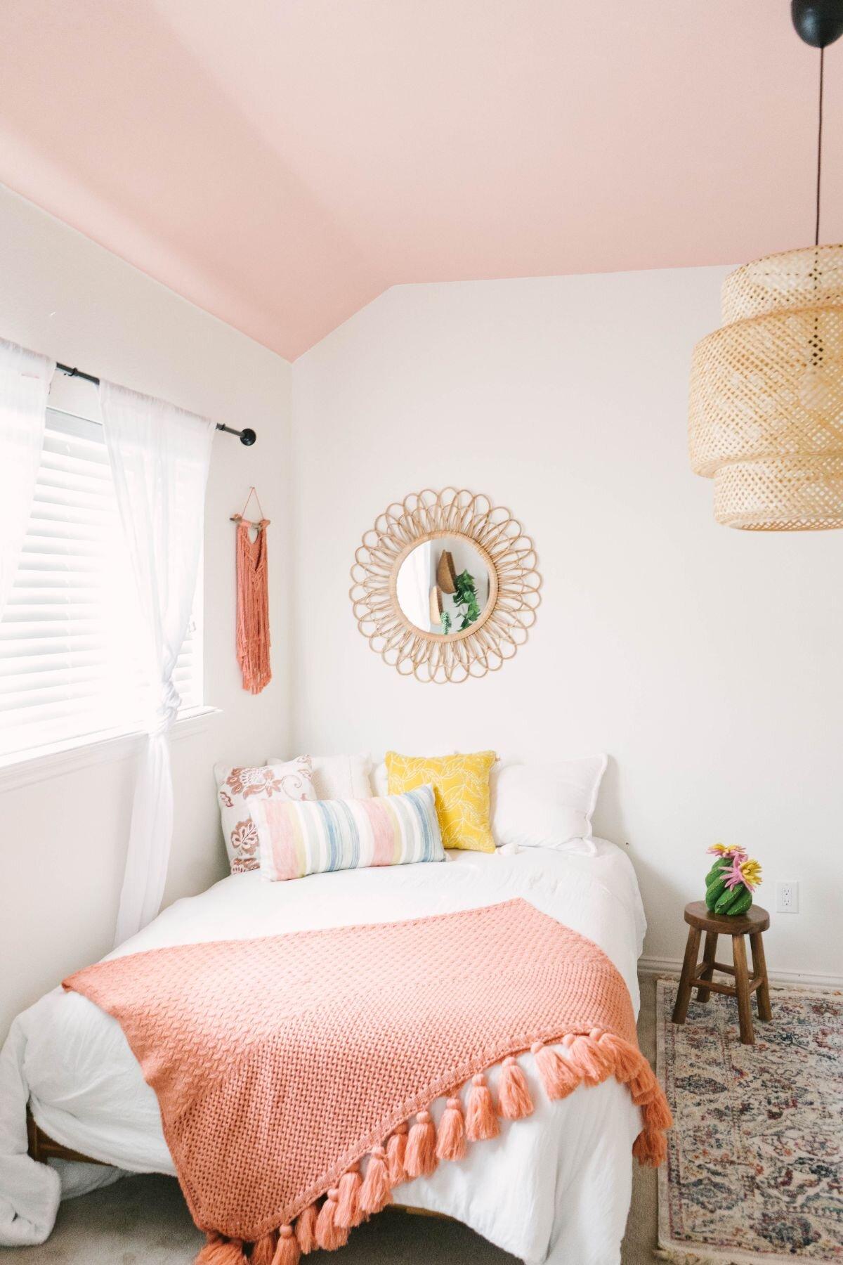 Blush Coral Boho Little Girls Bedroom Farmhouse Living