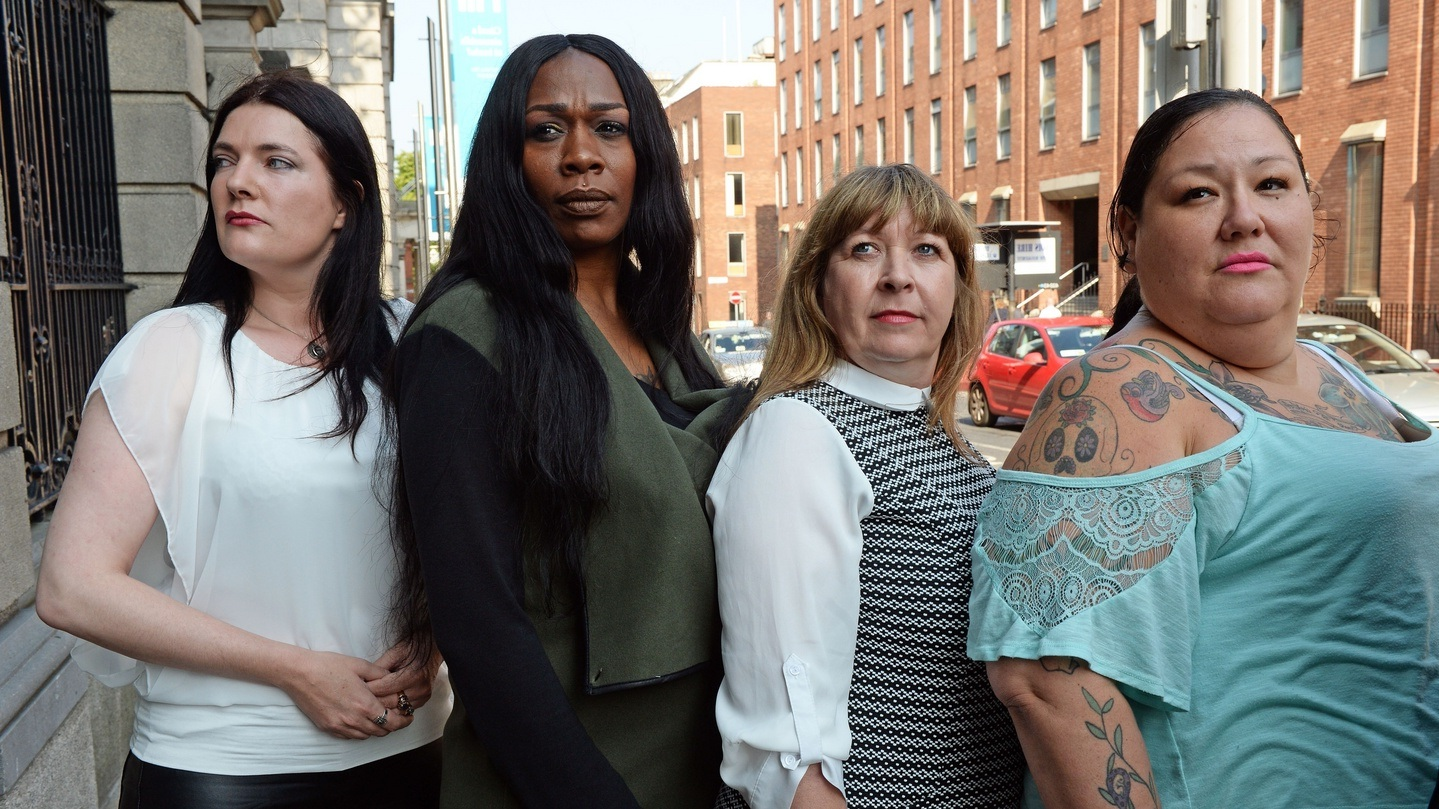 Rachel Moran (left) and former sex workers speak out in support of legislation criminalizing the purchase of sex in Ireland.