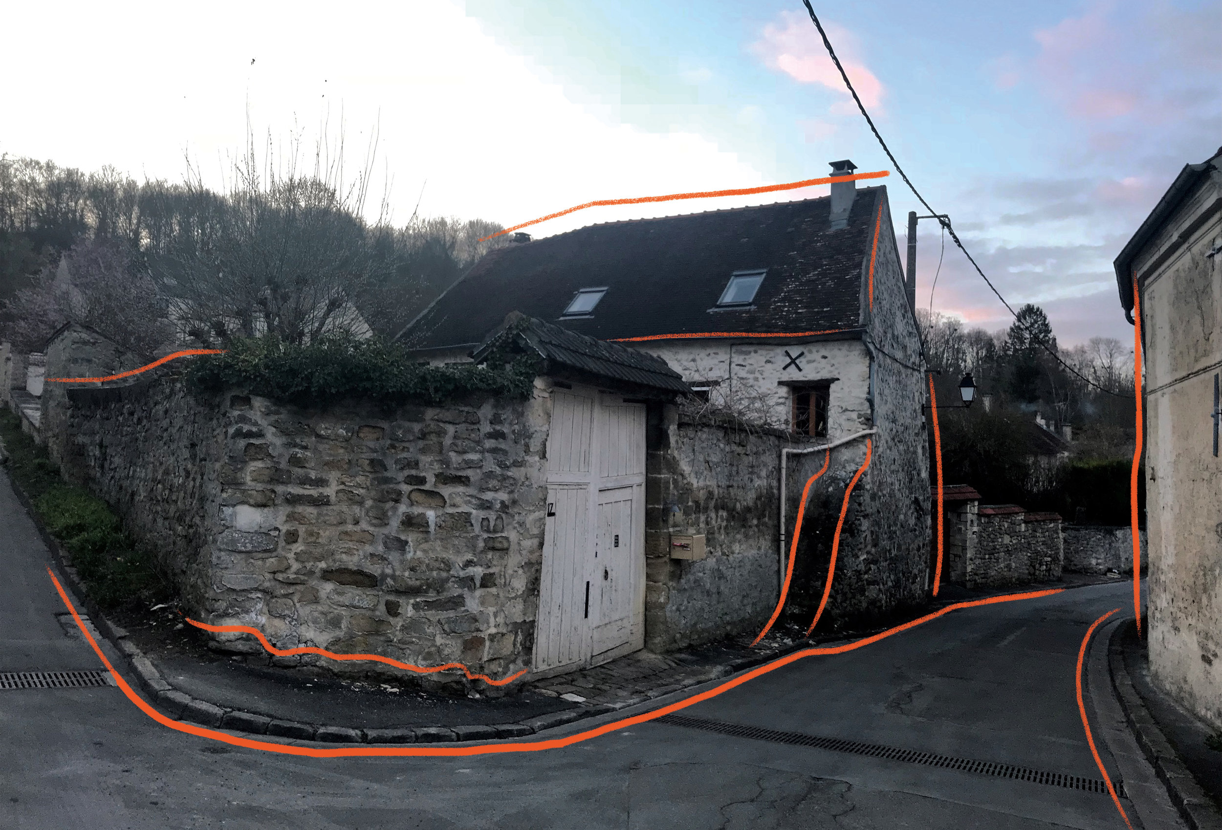 Photo taken near Chavonal in Auvers-sur-Oise with curves highlighted