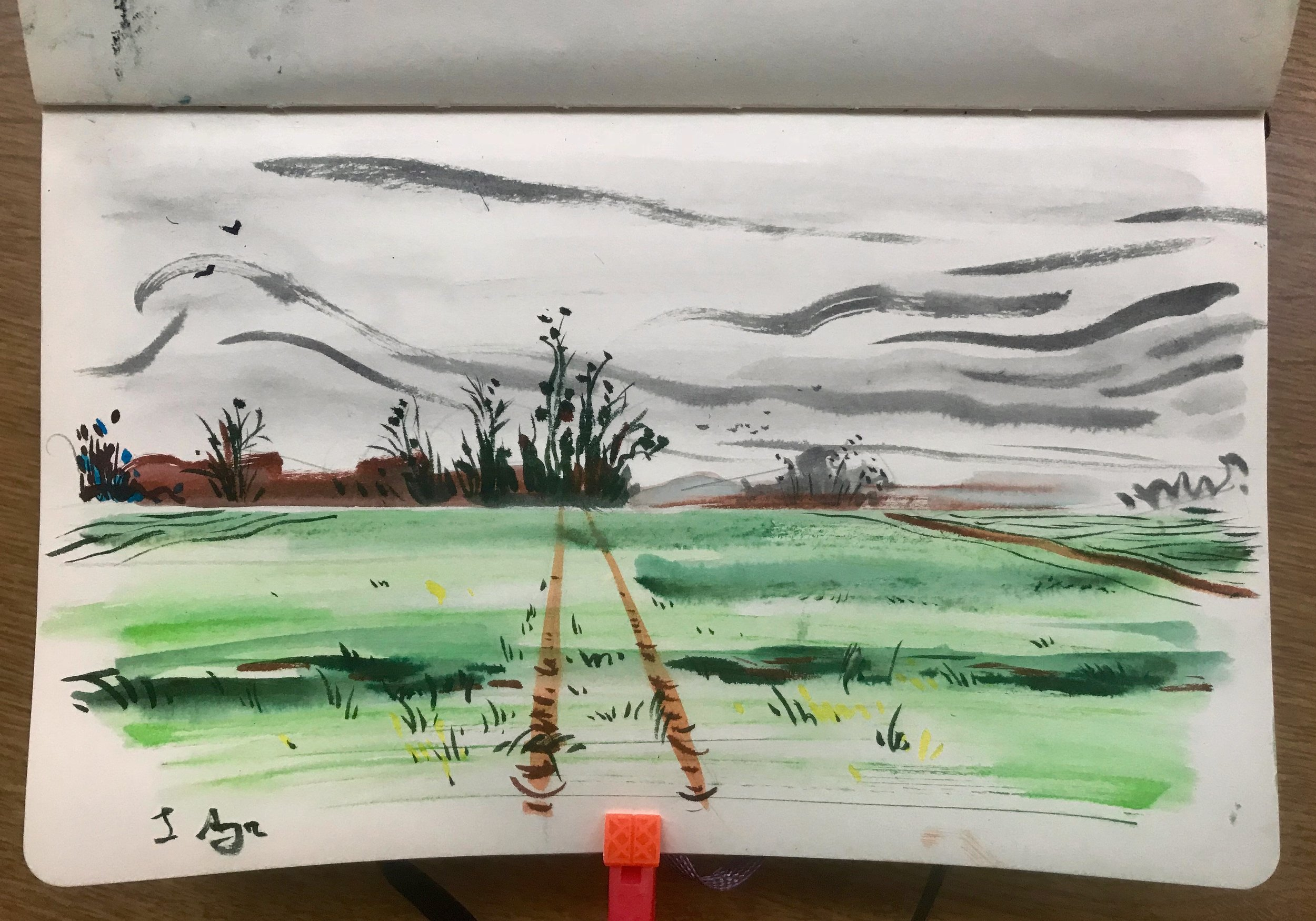 A sketch I painted on an overcast day in March 2018 in the wheat fields above Auvers-sur-Oise