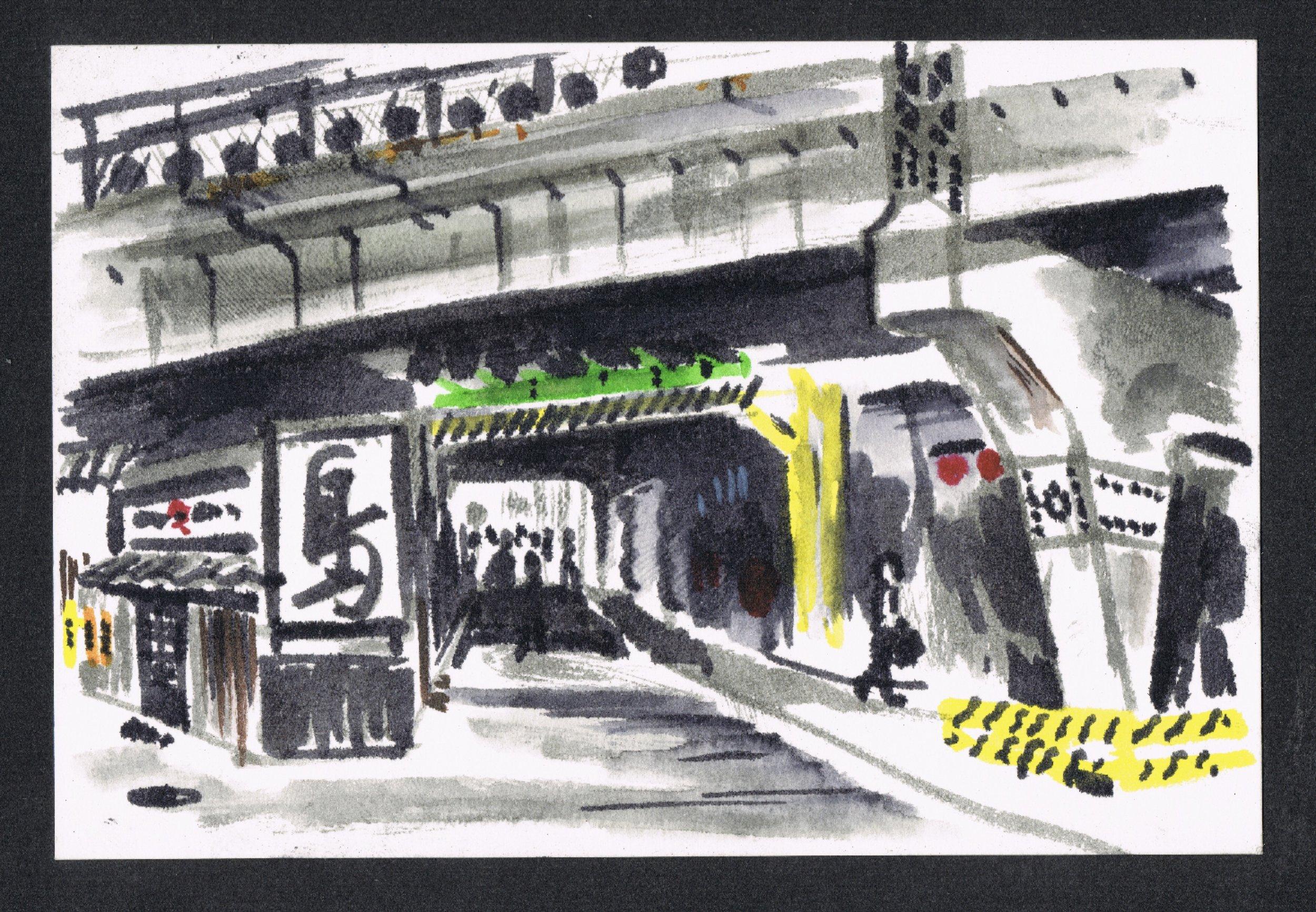 Bullet train flying over yakitori places at  Shinbashi Station  in Tokyo
