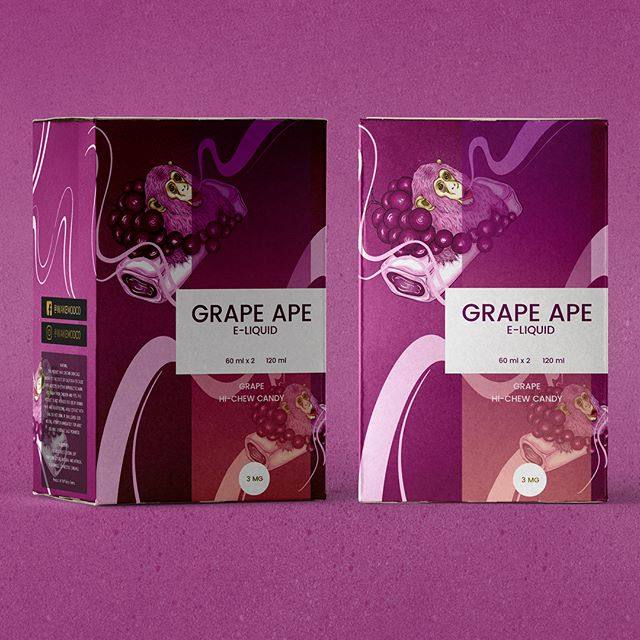 E-liquid packaging box illustration. Flavour: GRAPE APE 🦍   #illustration #illustrator #pattern #graphic #design #graphicdesign #foil #patterndesign #procreate #procreateillustration #ape #grape #purple #lilac #colors